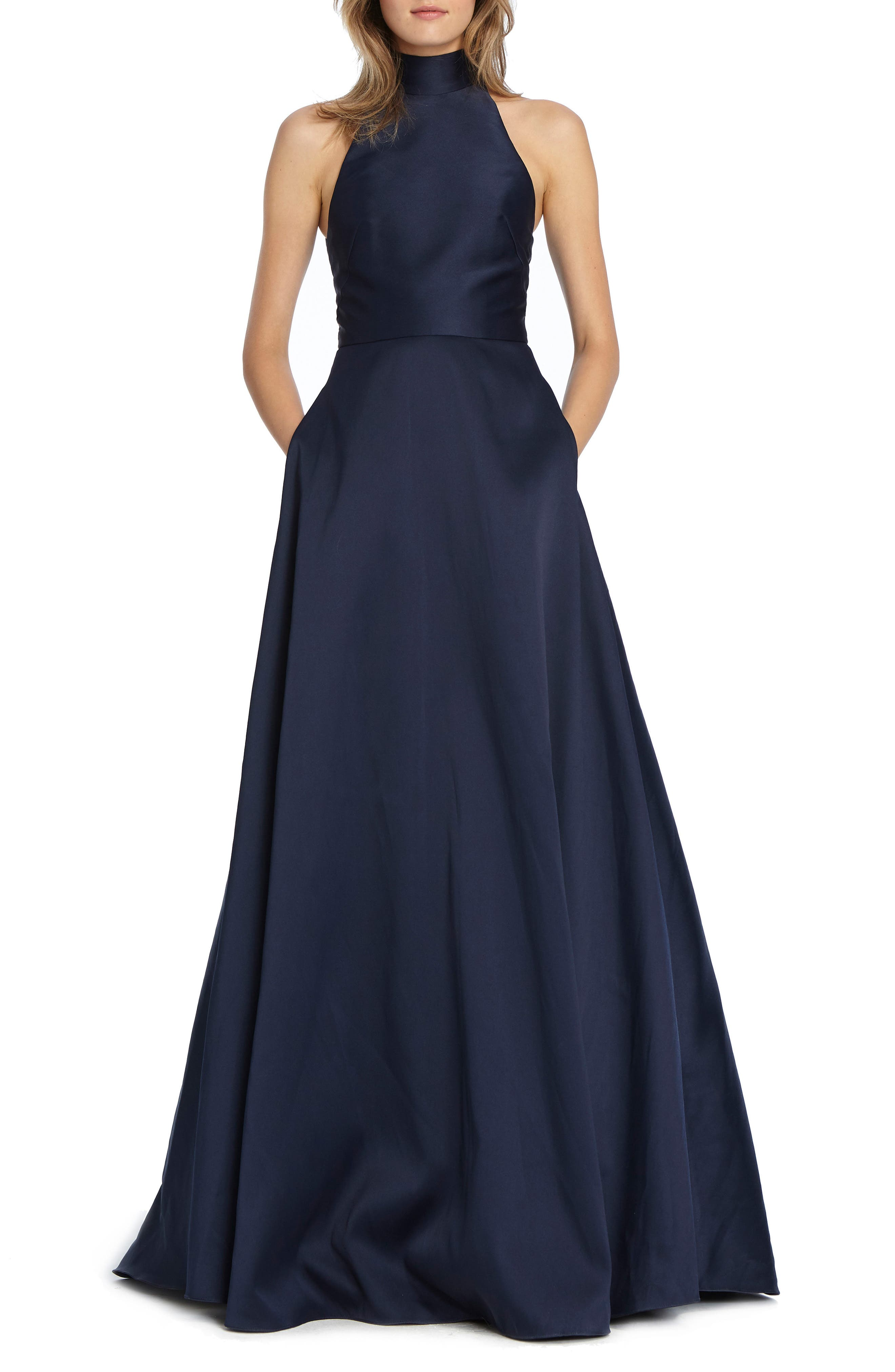 Ml Monique Lhuillier Satin Mock Neck Evening Dress