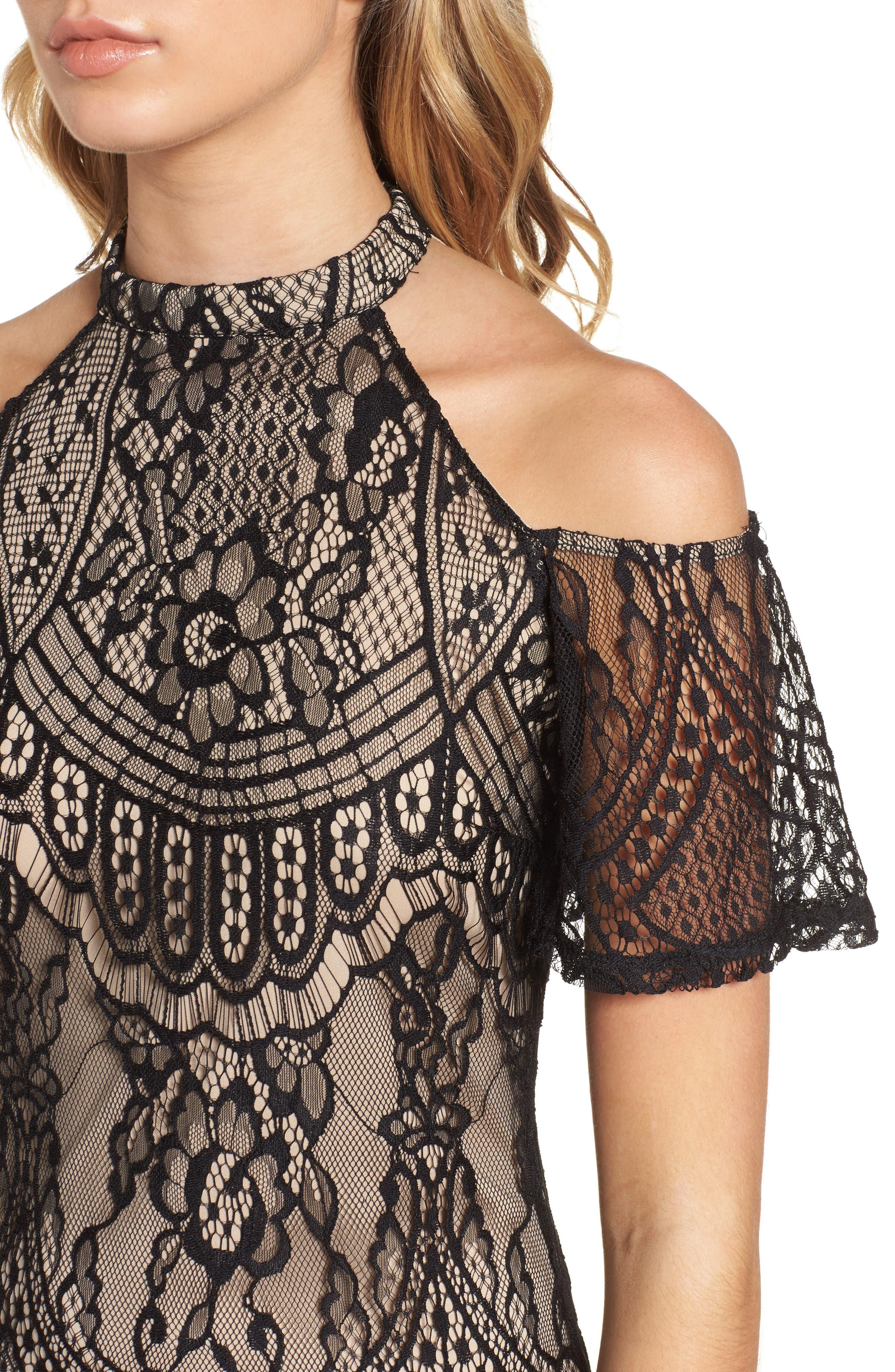 Lace Cold Shoulder Dress,                             Alternate thumbnail 4, color,                             002