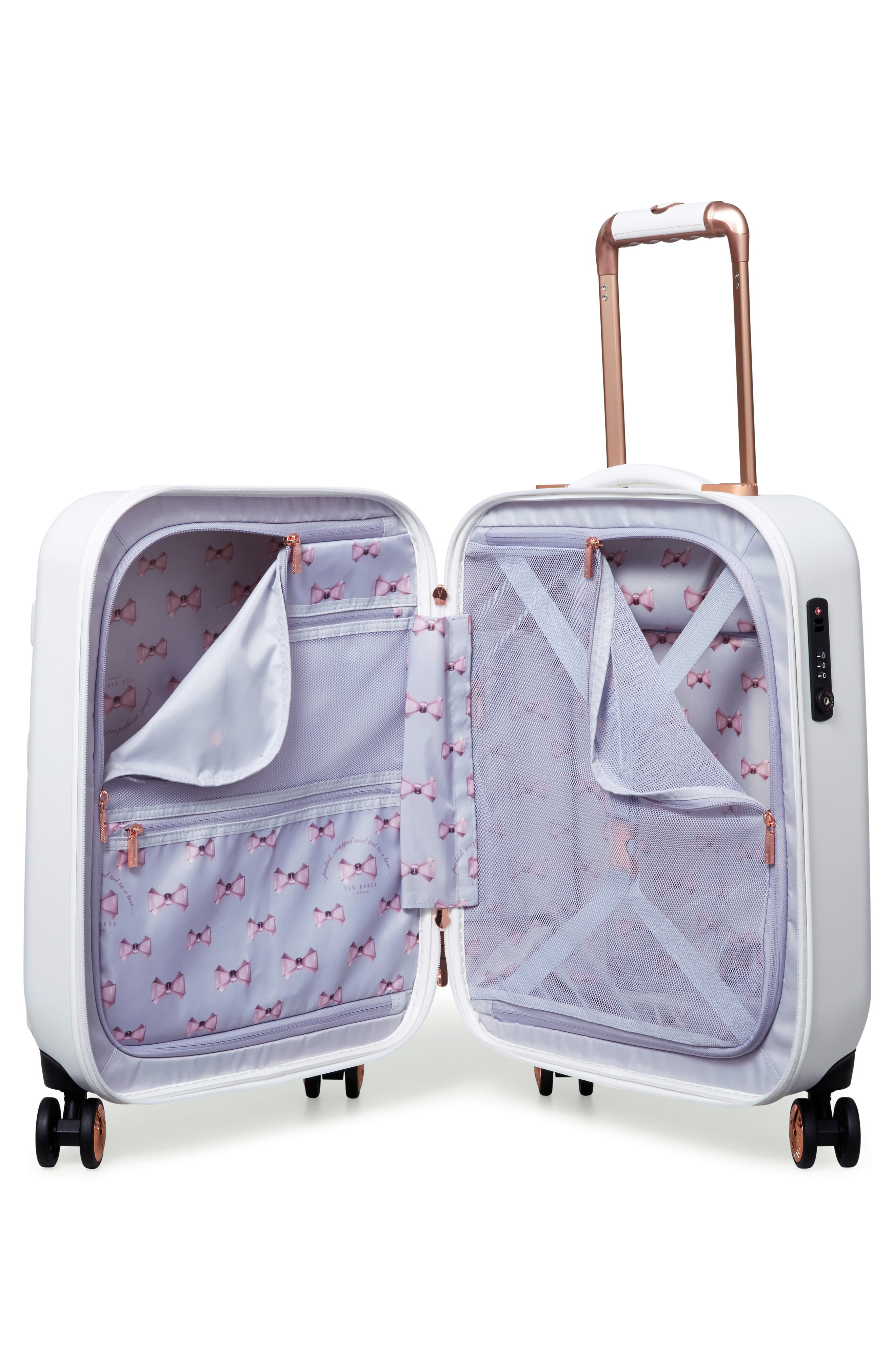Small Beau 21-Inch Bow Embossed Four-Wheel Trolley Suitcase,                             Alternate thumbnail 2, color,                             WHITE