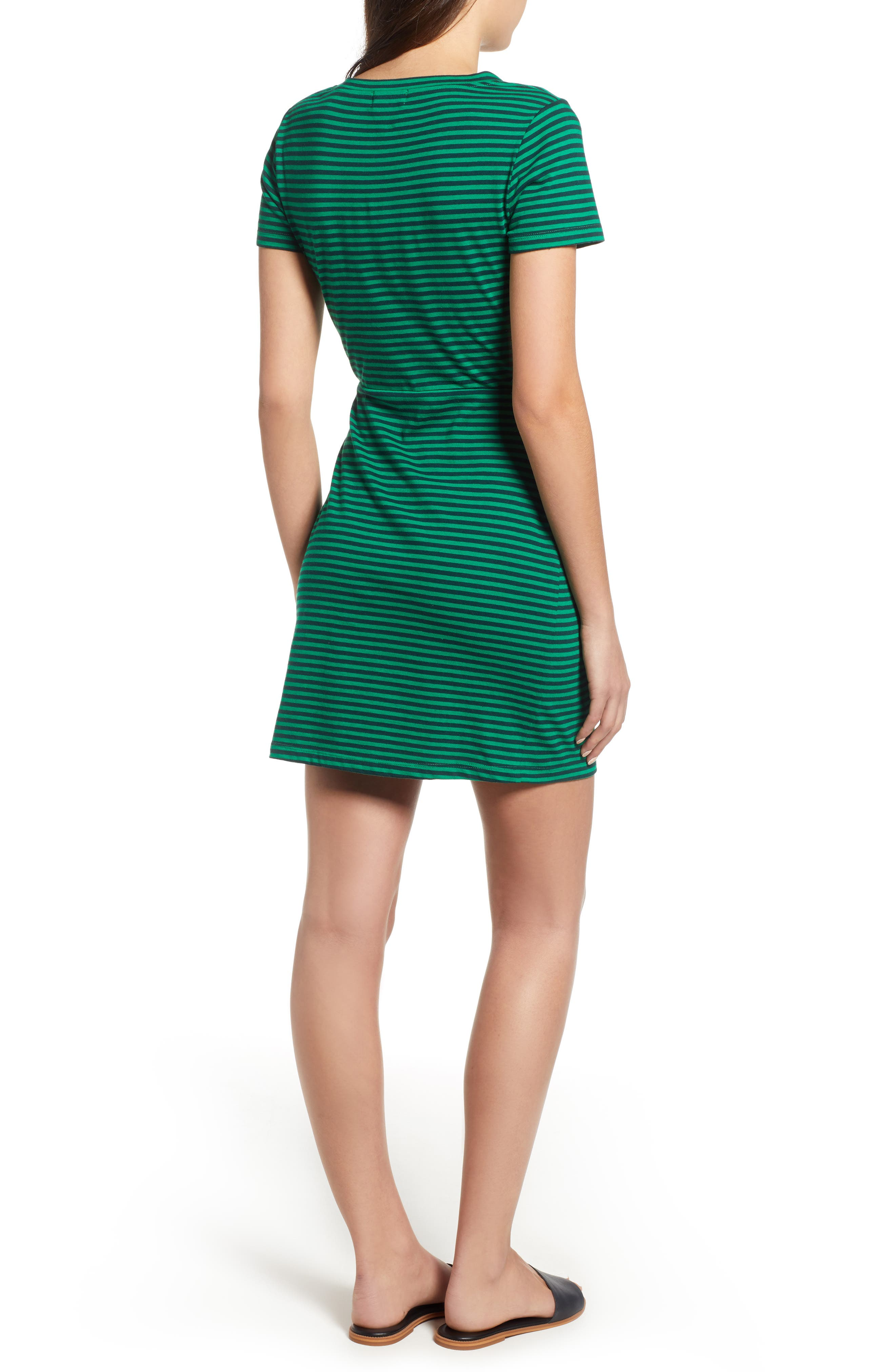 Knot Front Cutout Dress,                             Alternate thumbnail 2, color,                             EMERALD/ NAVY STRIPE