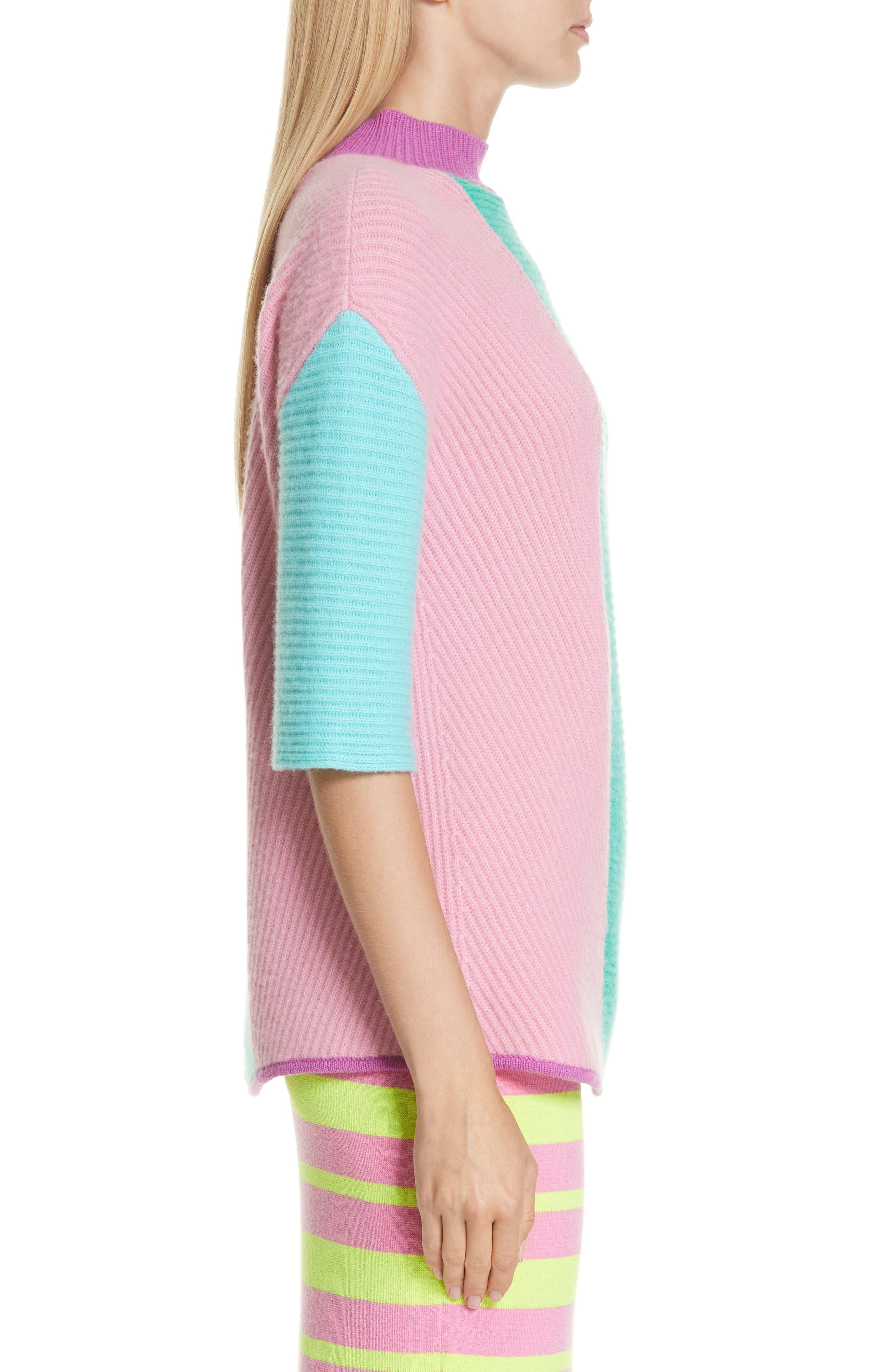 Stripe Short Sleeve Cashmere Sweater,                             Alternate thumbnail 3, color,                             MULTI