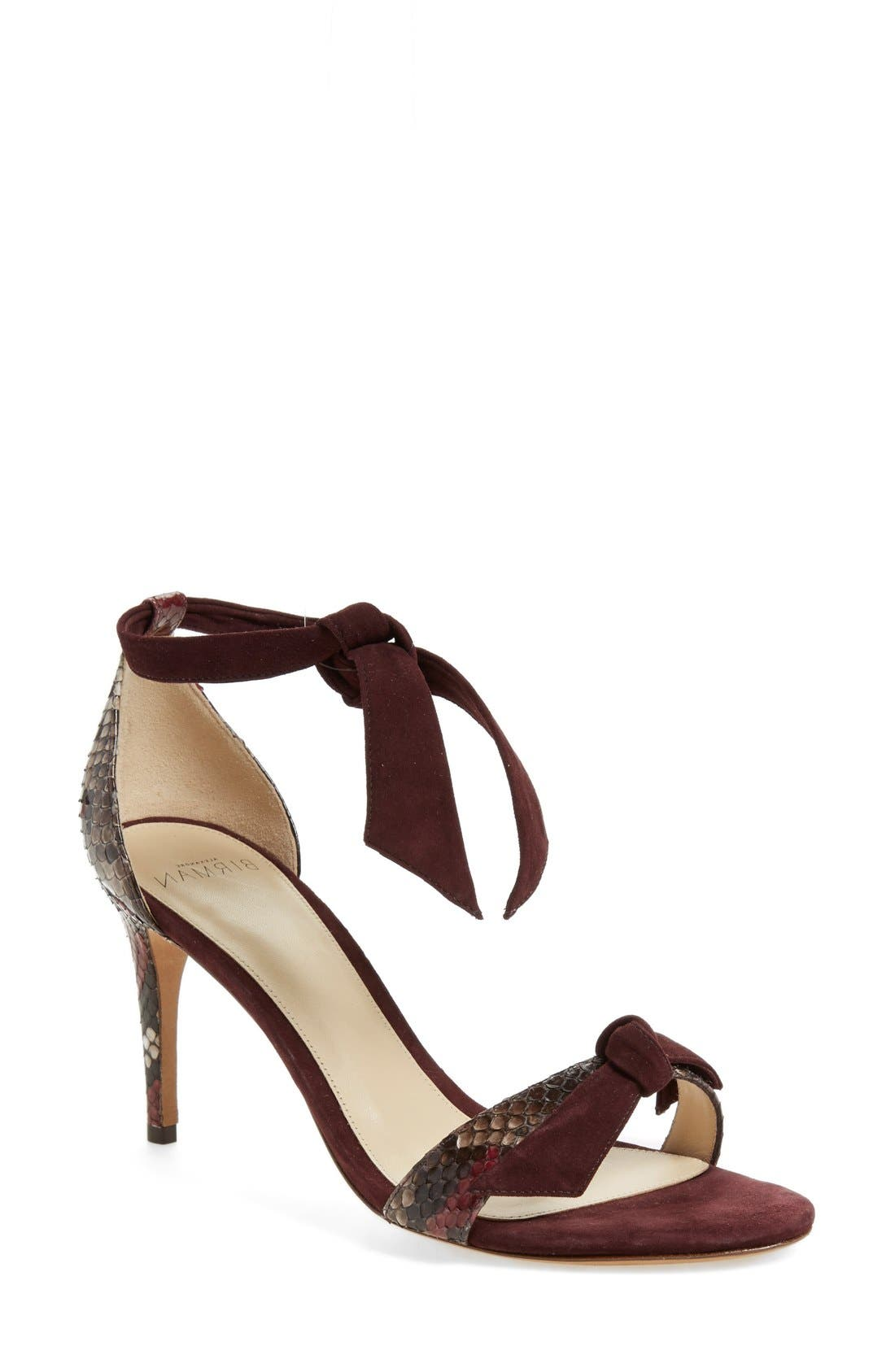 'Clarita' Suede & Genuine Python Ankle Tie Sandal,                             Main thumbnail 1, color,                             930