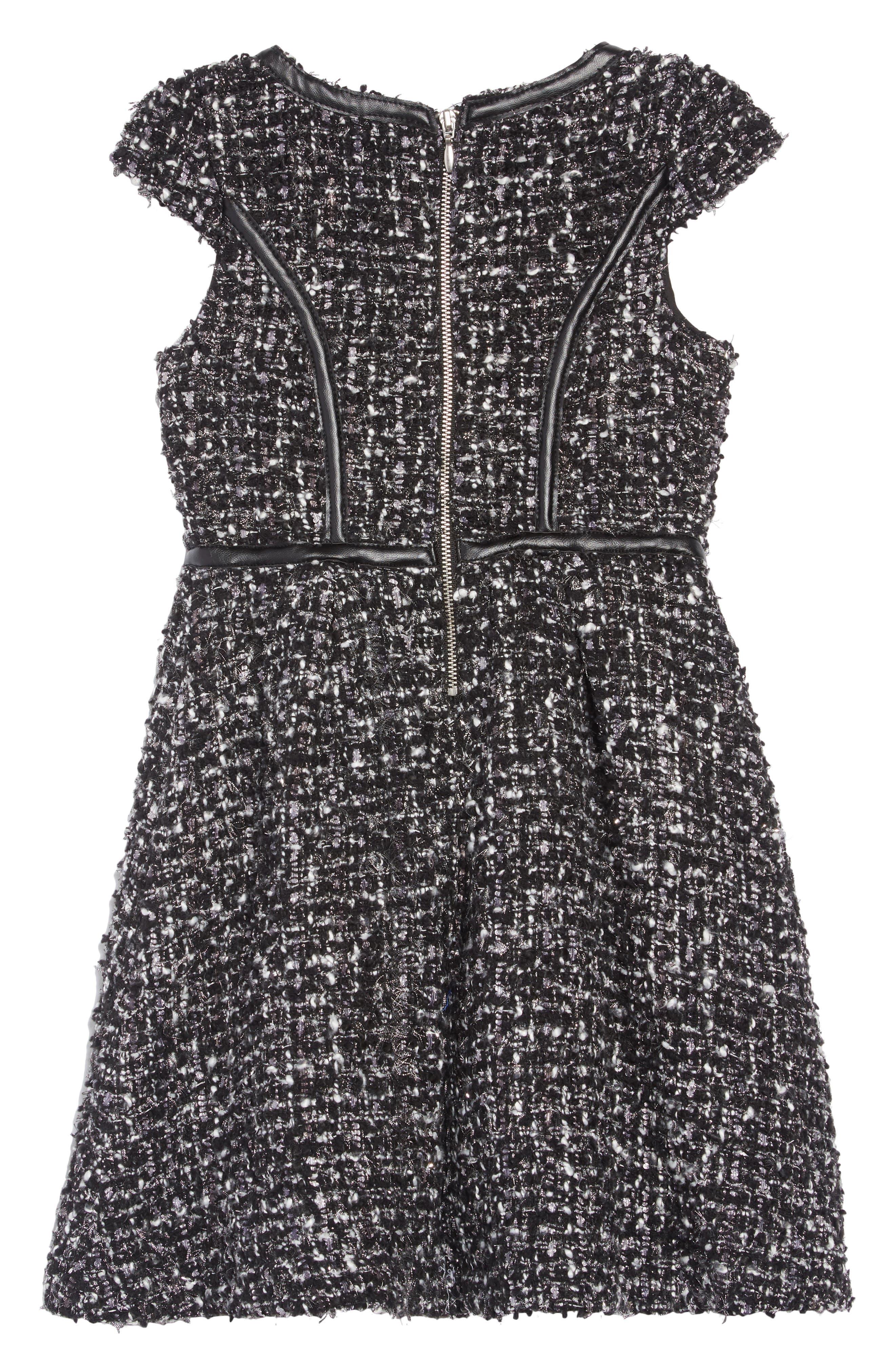 Tweed Dress,                             Alternate thumbnail 2, color,                             BLACK