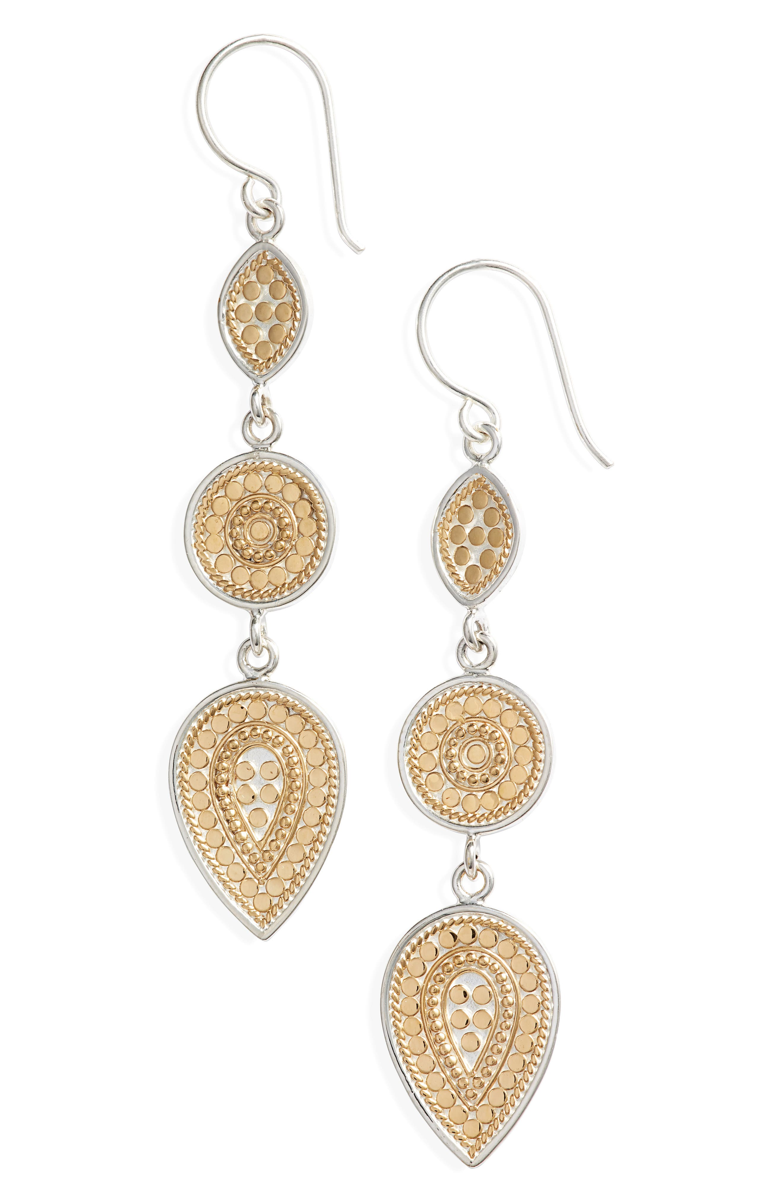 ANNA BECK Two-Tone Linear Drop Earrings in Gold/ Silver