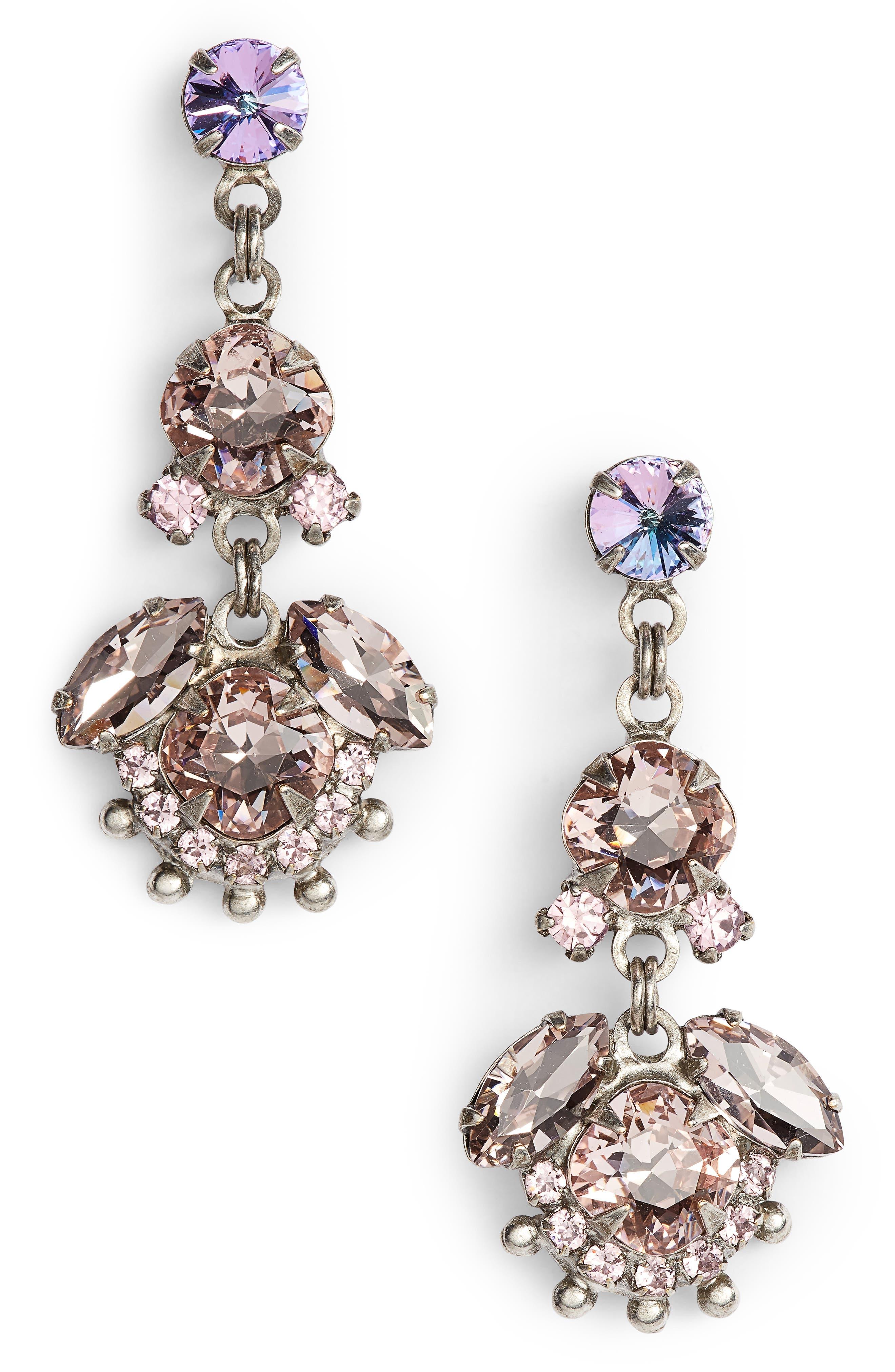 California Poppy Crystal Drop Earrings,                         Main,                         color, PINK
