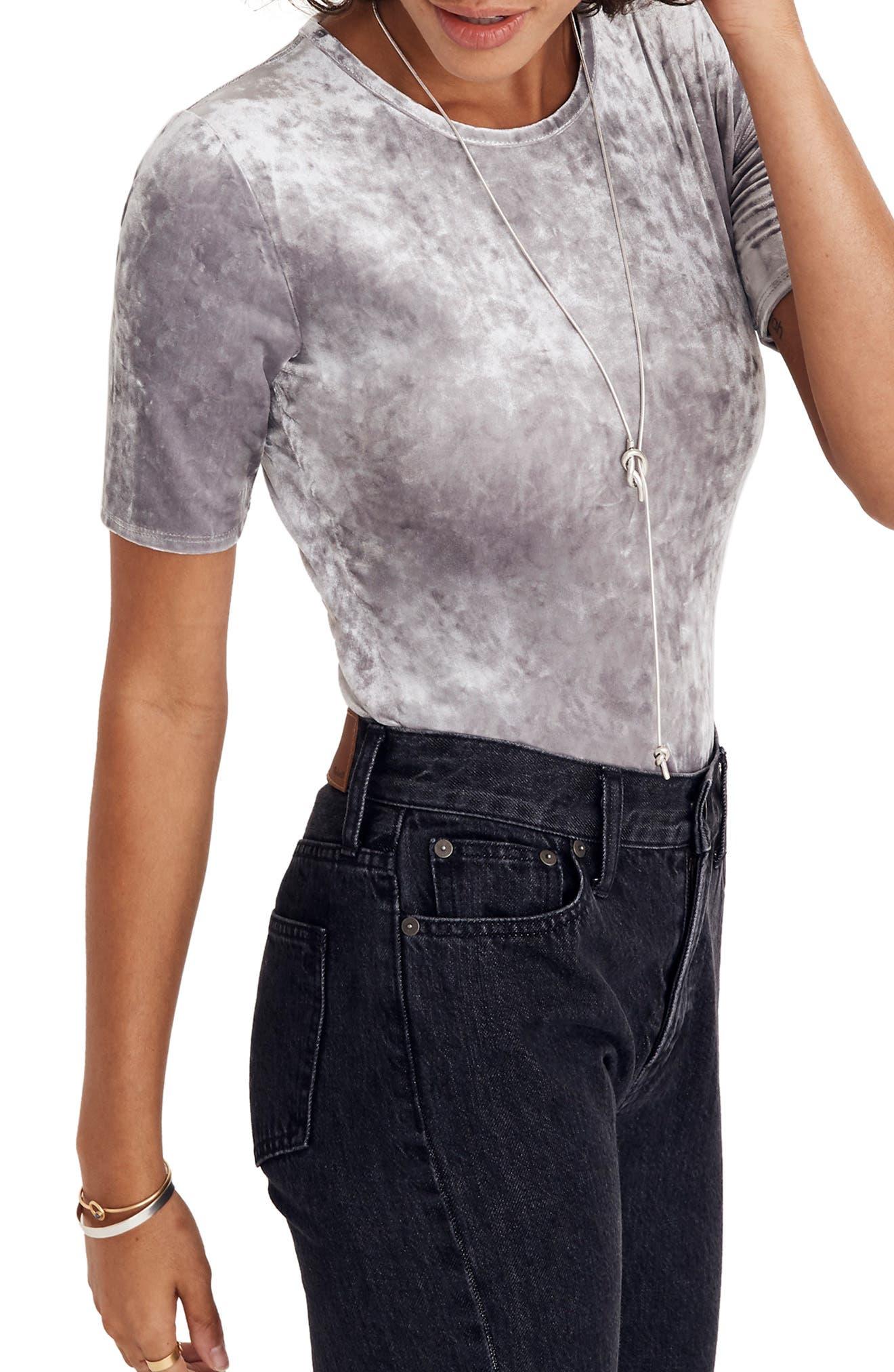 Crushed Velvet Short Sleeve Bodysuit,                             Alternate thumbnail 4, color,                             STONEWALL