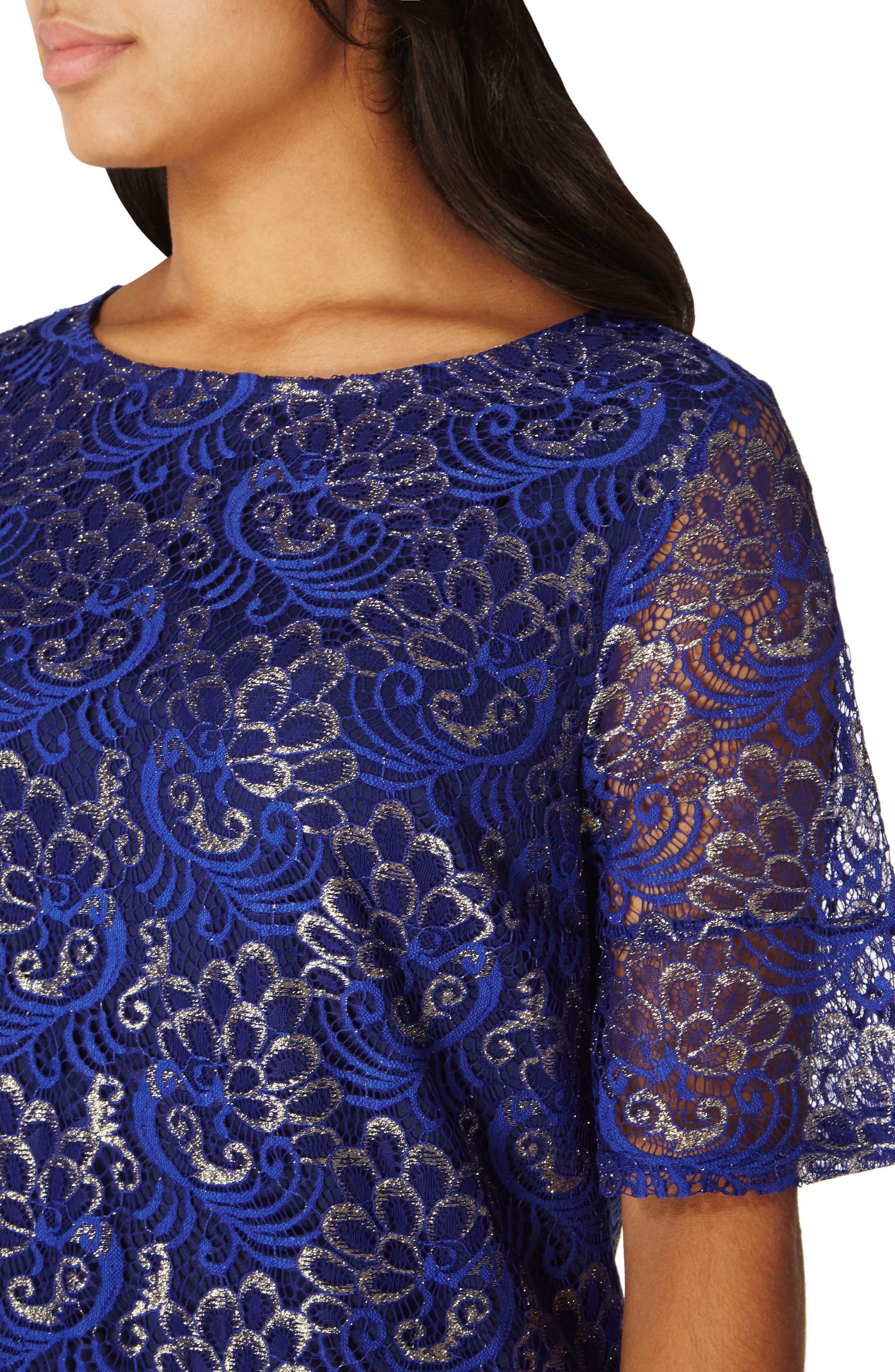 Shimmer Lace Shift Dress,                             Alternate thumbnail 3, color,                             400