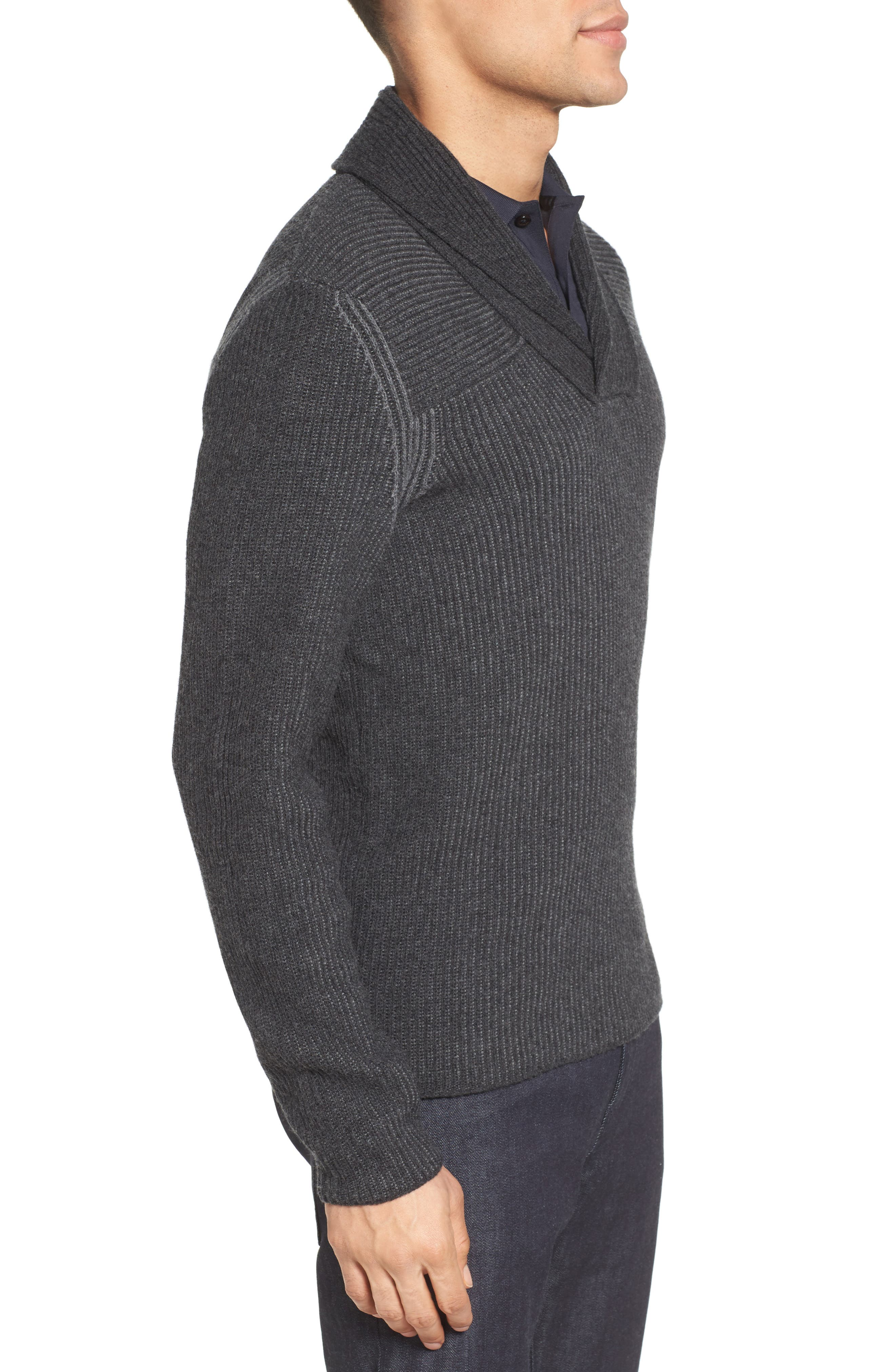 'Berno' Shawl Collar Wool Pullover,                             Alternate thumbnail 3, color,                             010