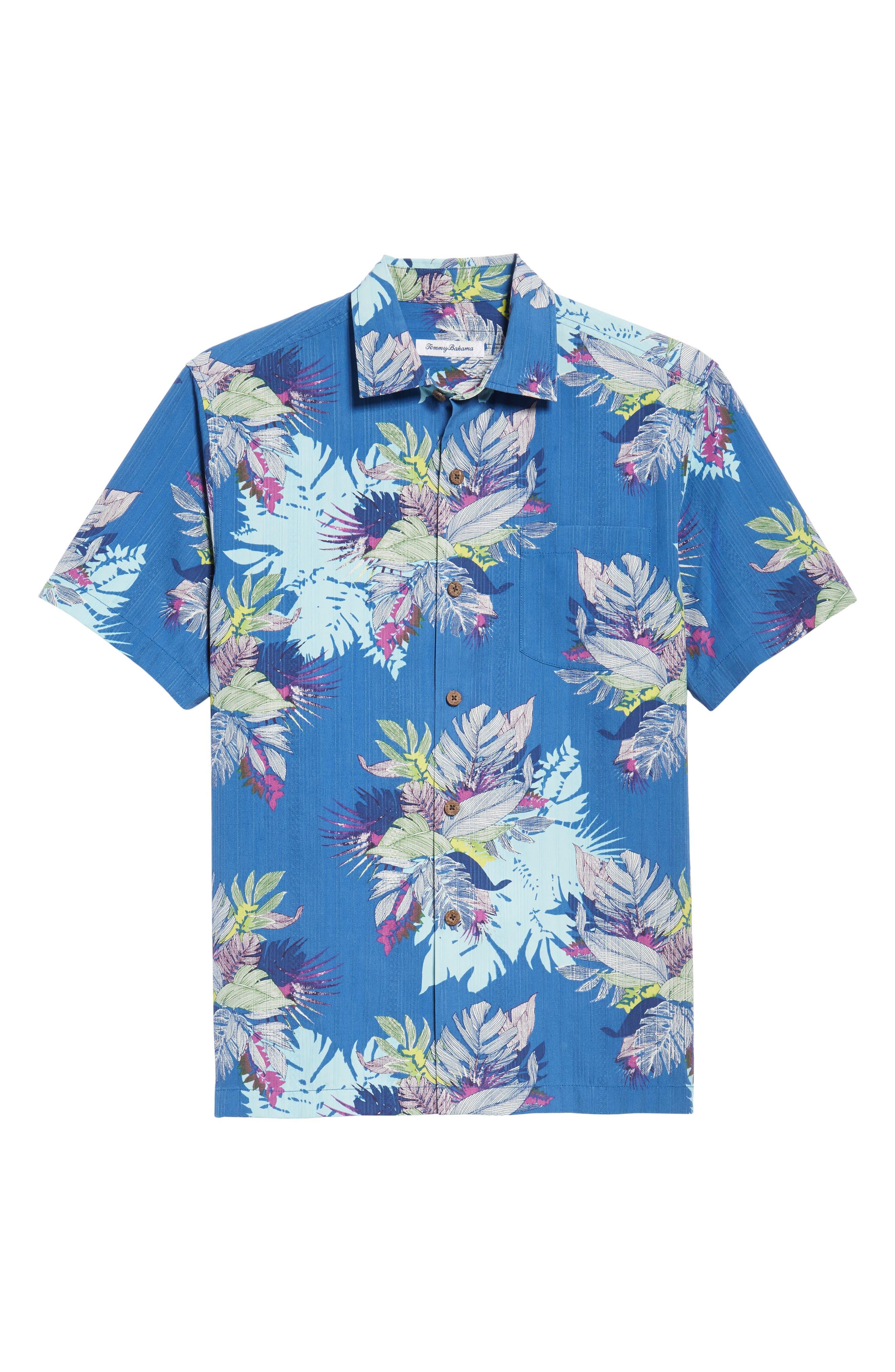 Fronds Bouquet Classic Fit Silk Blend Sport Shirt,                             Alternate thumbnail 6, color,                             400