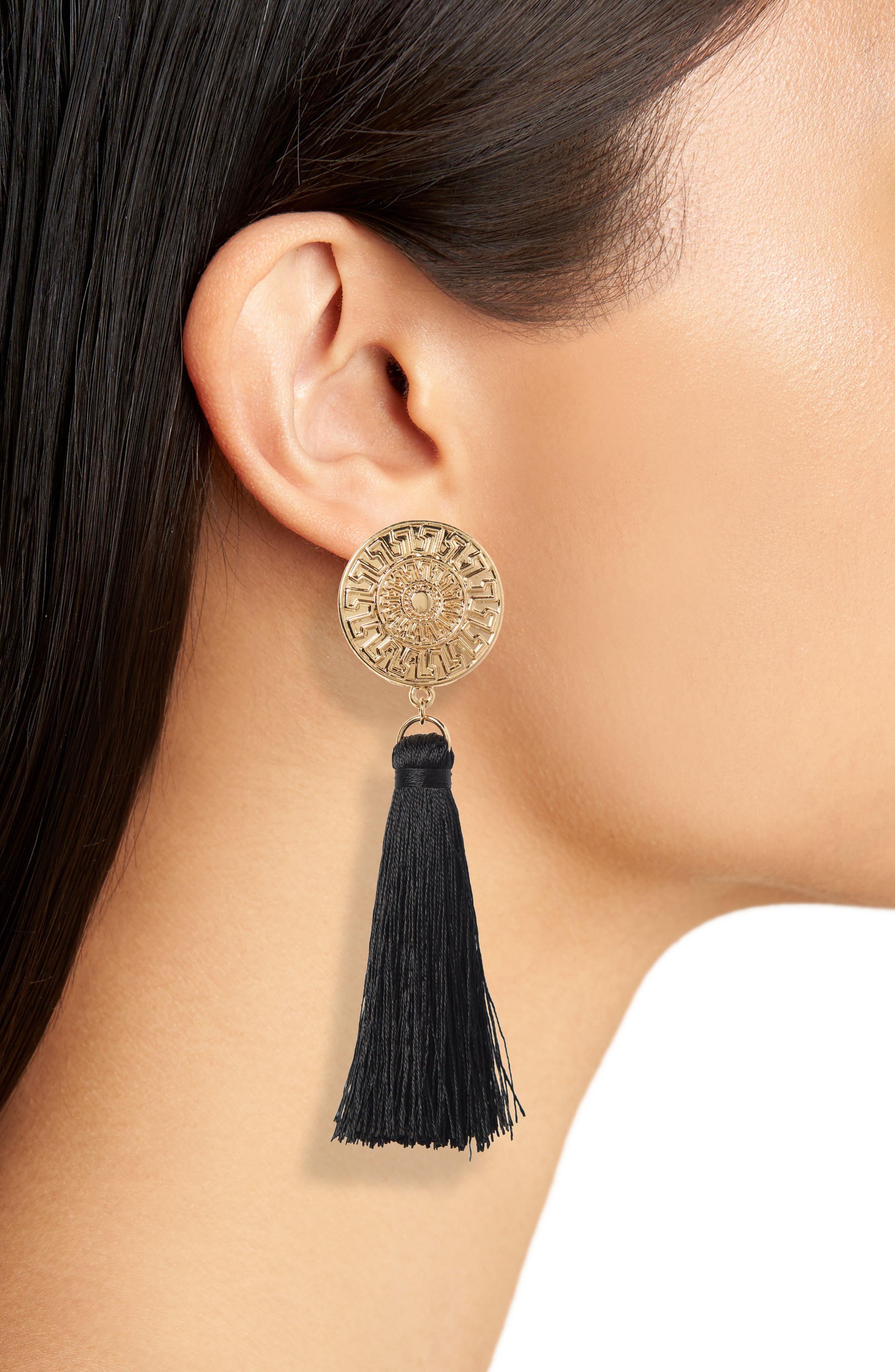 Golden Coin Tassel Earrings,                             Alternate thumbnail 2, color,                             710