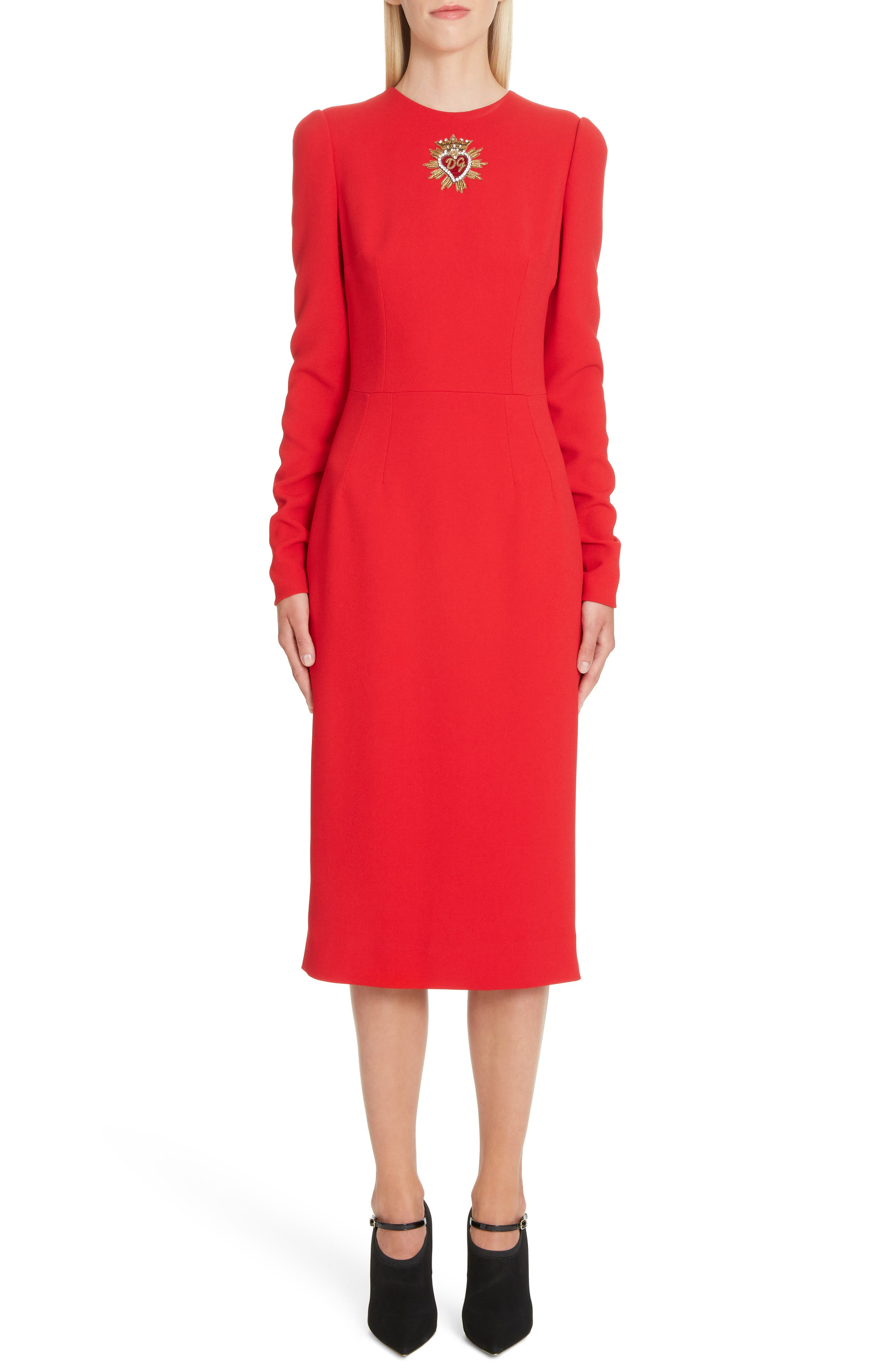 DOLCE&GABBANA Sacred Heart Patch Cady Pencil Dress, Main, color, RED