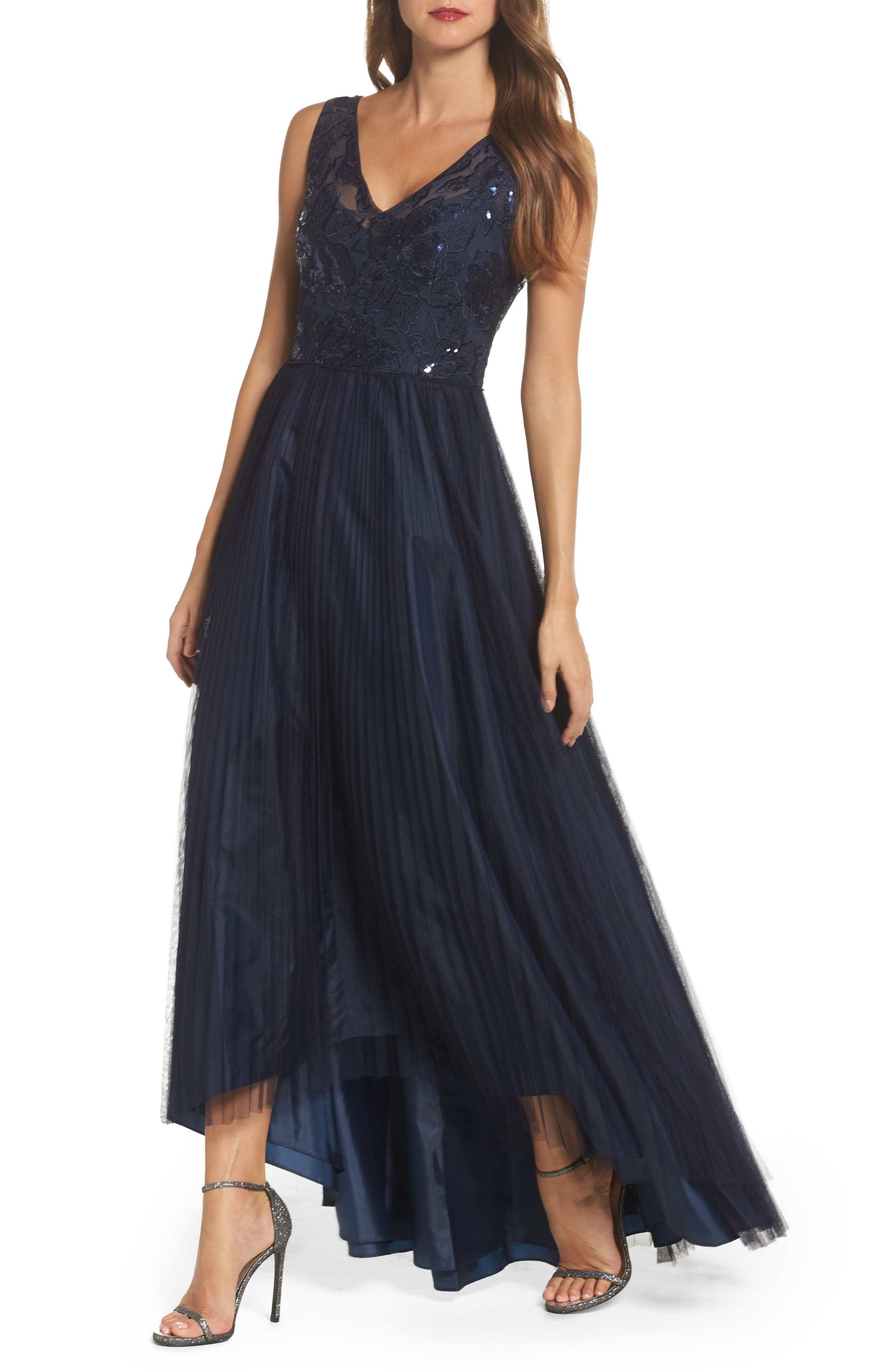 Sequin Pleated Tulle High/Low Gown,                             Main thumbnail 1, color,                             411