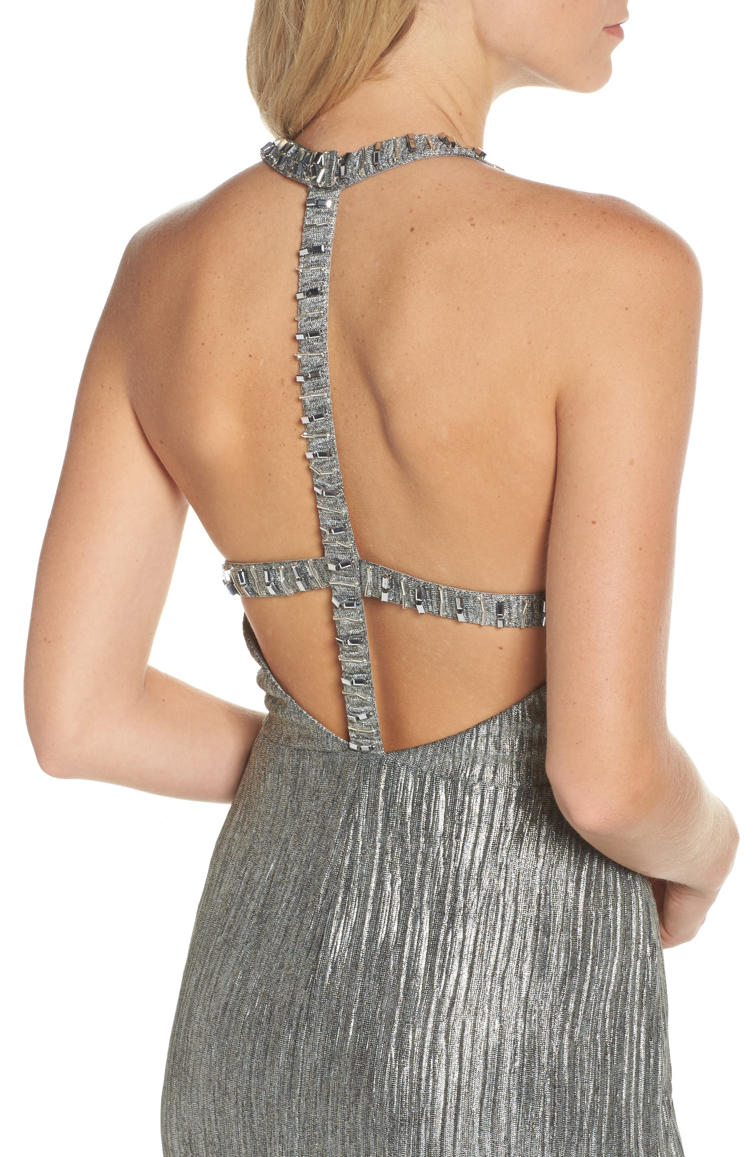 Embellished Crinkle Jersey Halter Gown,                             Alternate thumbnail 4, color,
