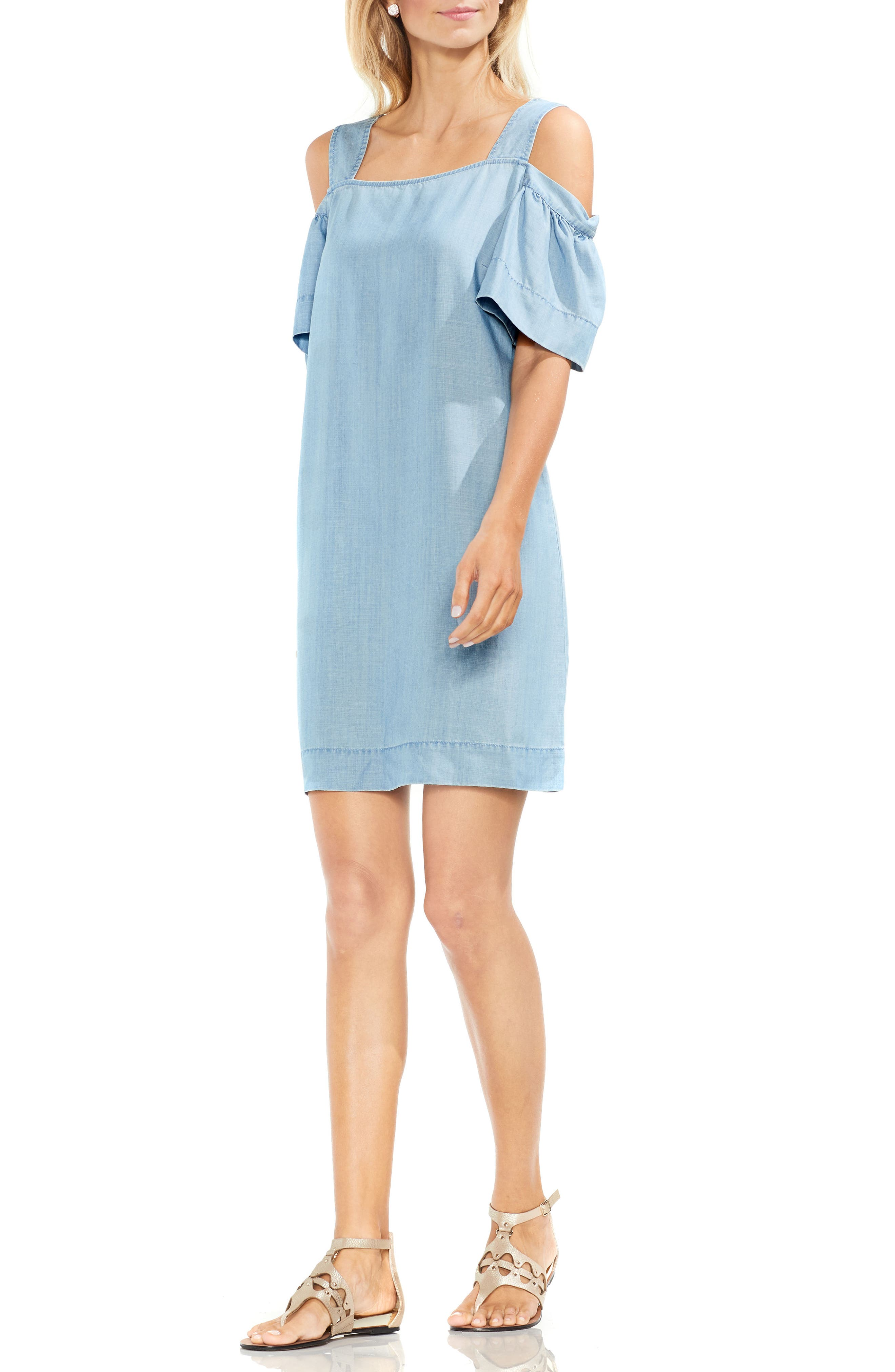 Ruffle Cold Shoulder Dress,                             Alternate thumbnail 4, color,                             410