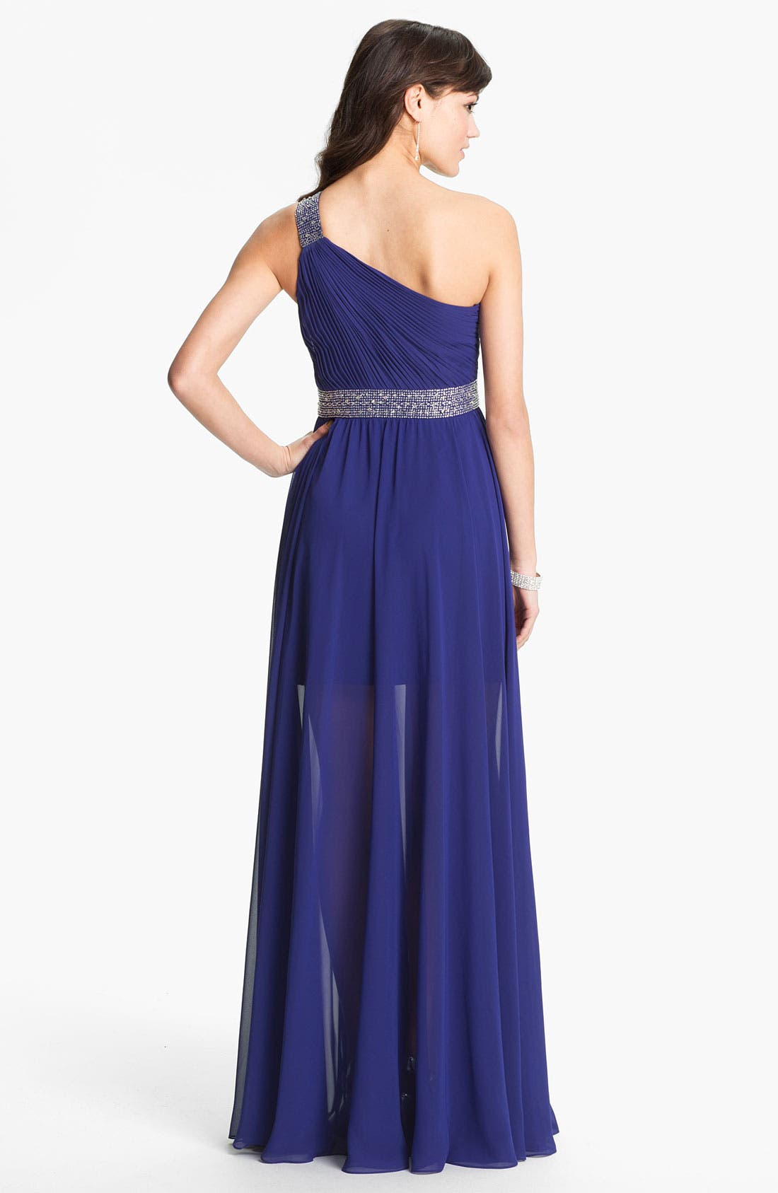 One Shoulder Embellished Chiffon Gown,                             Alternate thumbnail 2, color,                             408