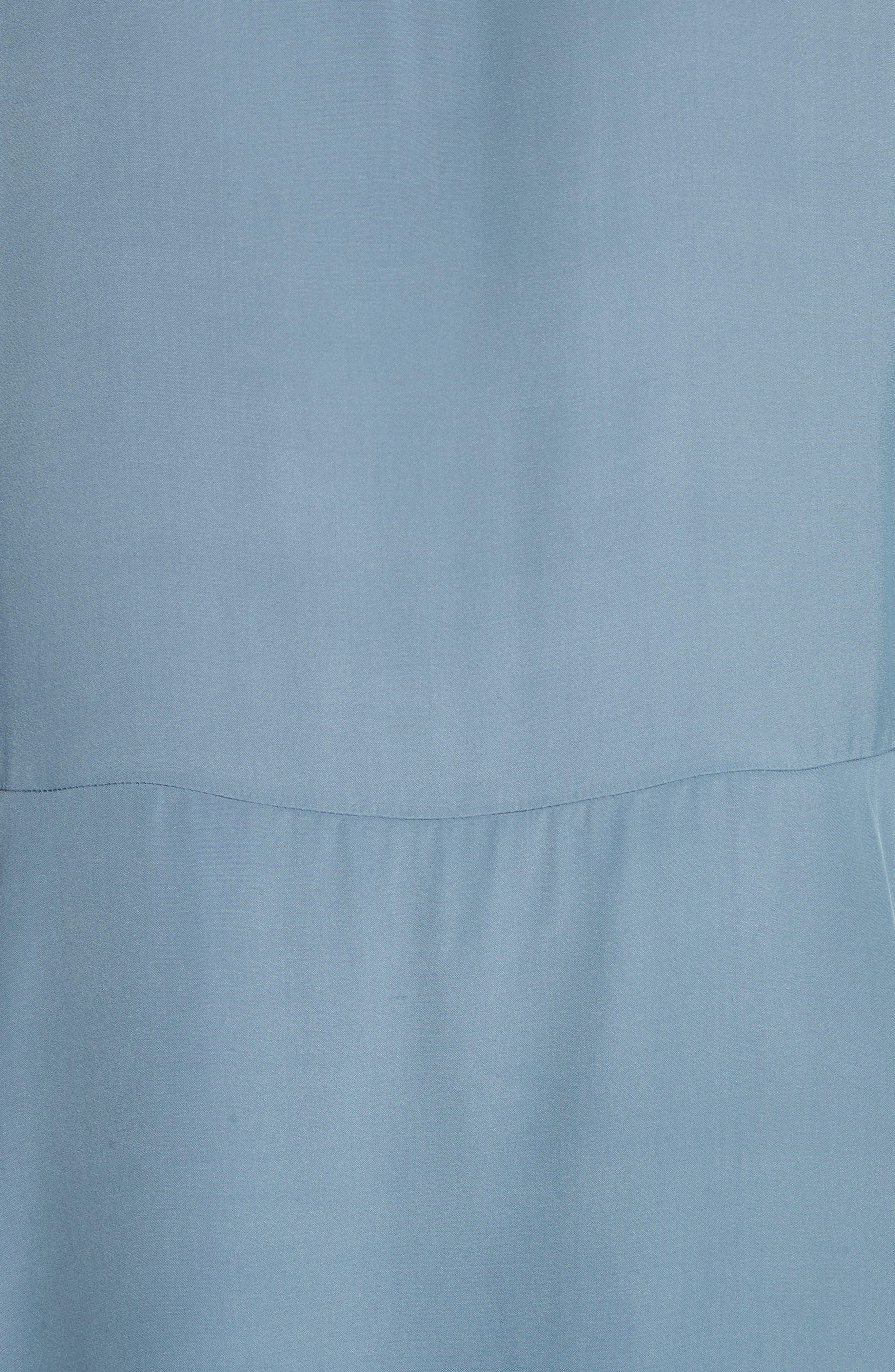 Tie Neck Ruffle Hem Dress,                             Alternate thumbnail 6, color,                             MIRAGE BLUE