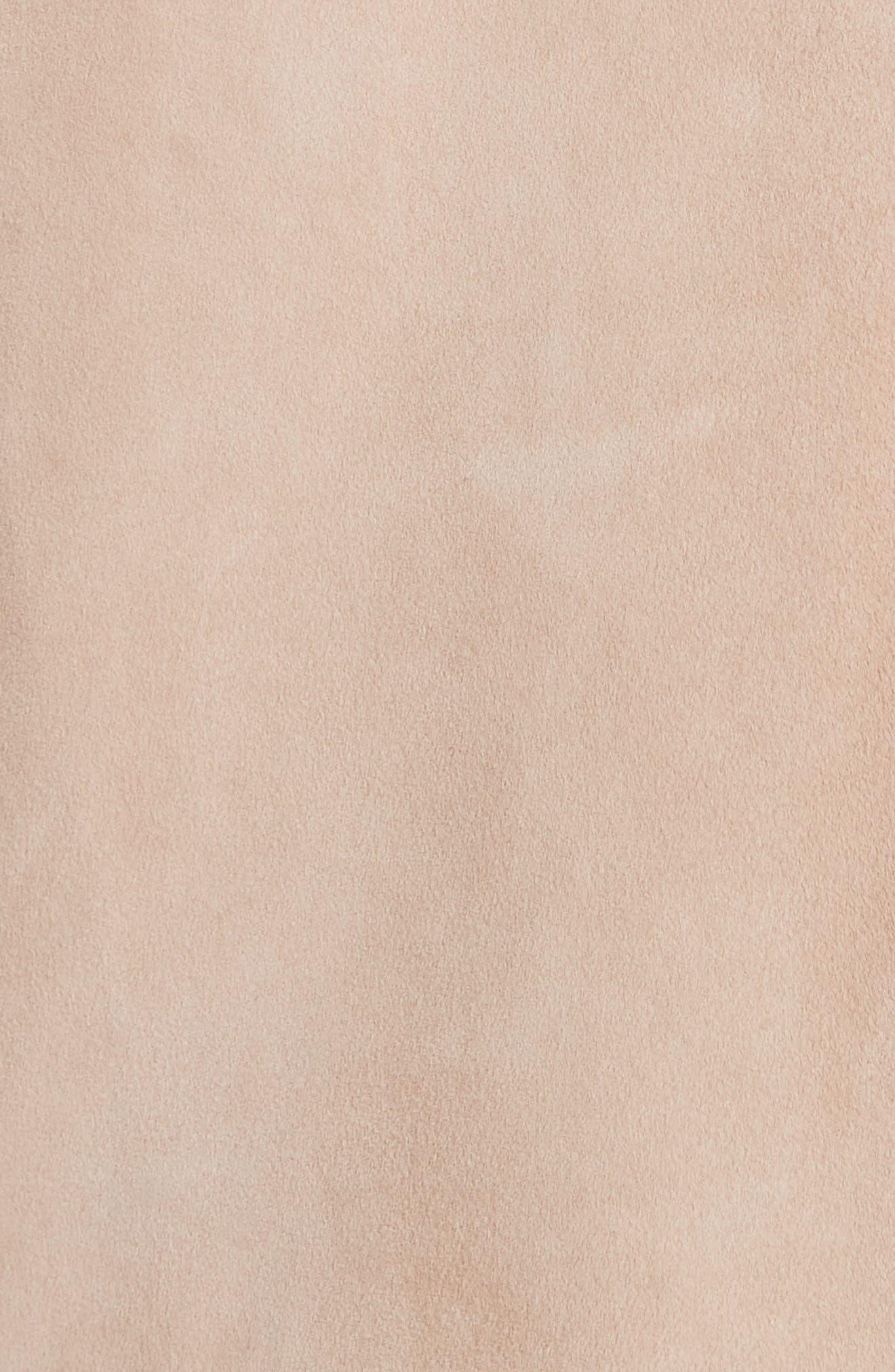 VINCE,                             Suede Moto Jacket,                             Alternate thumbnail 7, color,                             ROSE QUARTZ