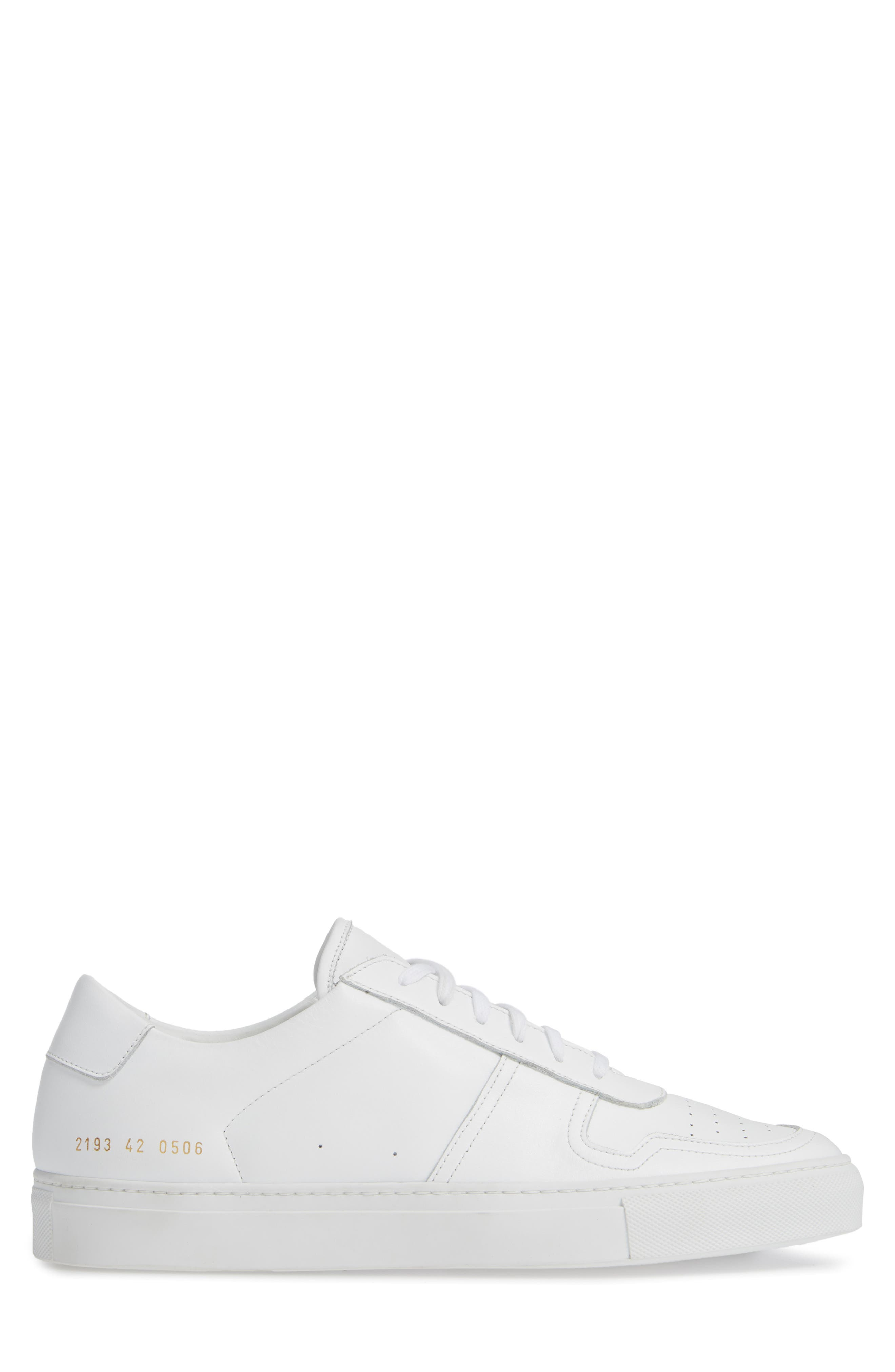 COMMON PROJECTS,                             Bball Low Top Sneaker,                             Alternate thumbnail 3, color,                             WHITE