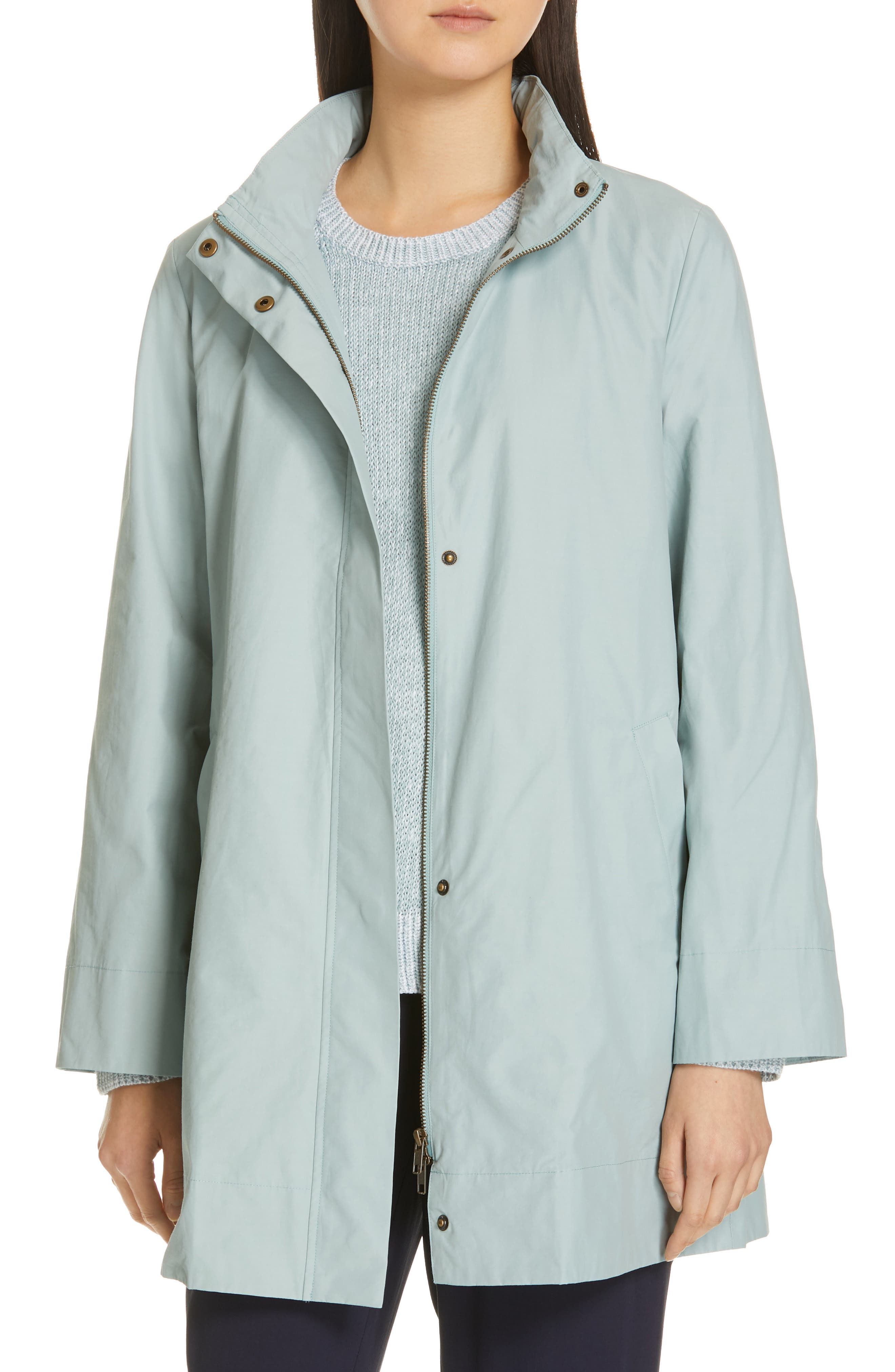 EILEEN FISHER,                             A-Line Jacket,                             Main thumbnail 1, color,                             BLUE IVY