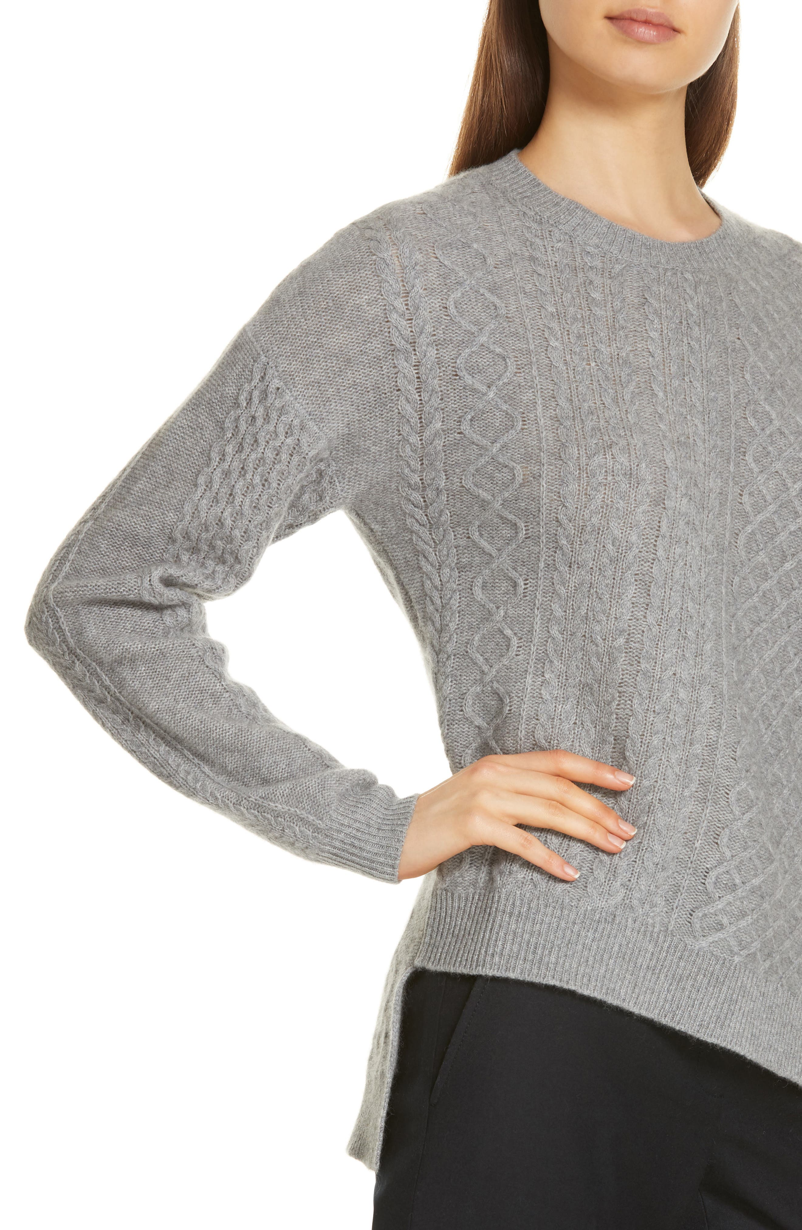 Cable Mix Asymmetrical Cashmere Sweater,                             Alternate thumbnail 4, color,                             GREY FILIGREE HR
