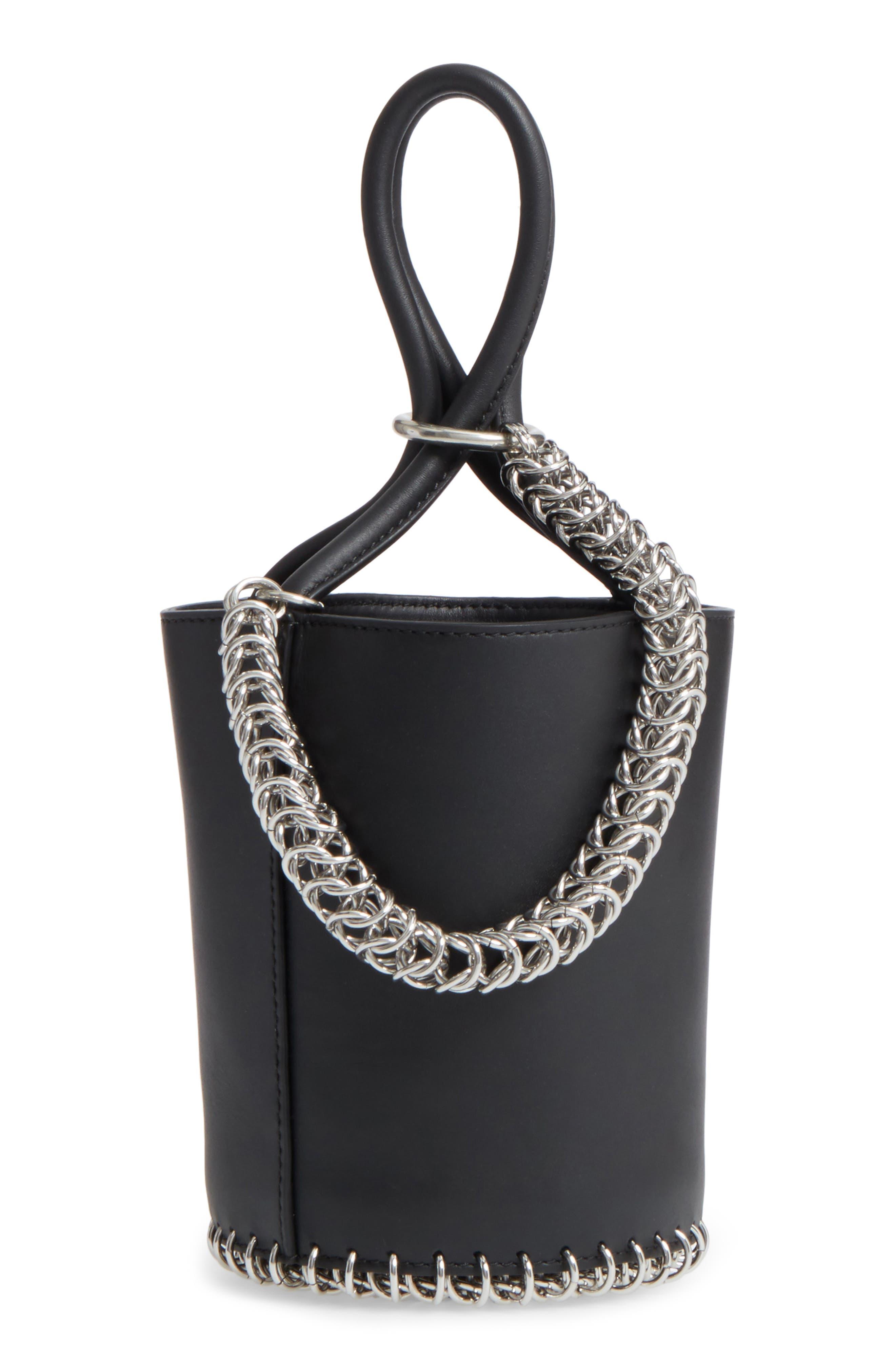 Roxy Box Chain Leather Bucket Bag,                             Main thumbnail 1, color,                             001