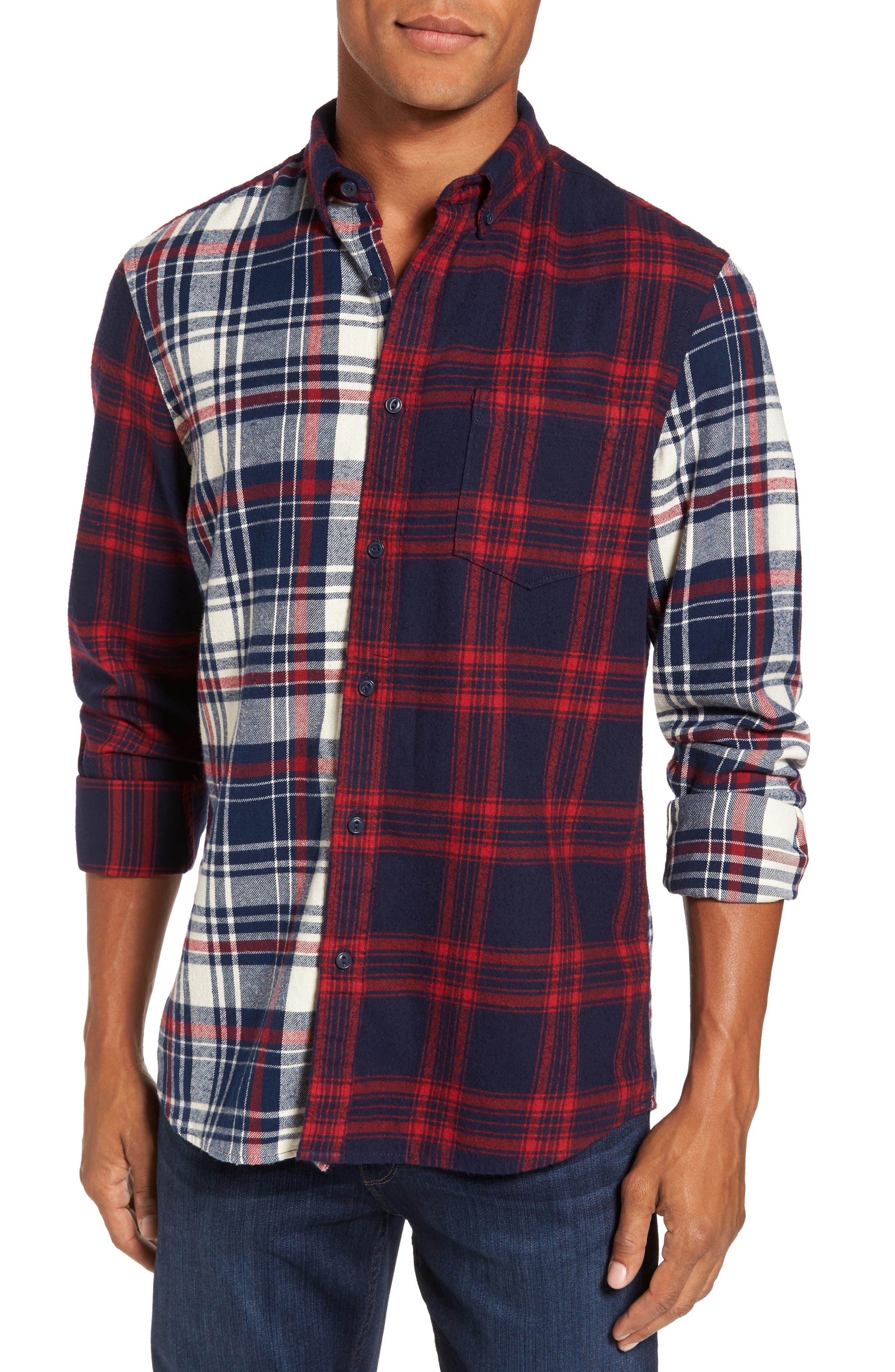 Trim Fit Patchwork Sport Shirt,                             Main thumbnail 1, color,                             410