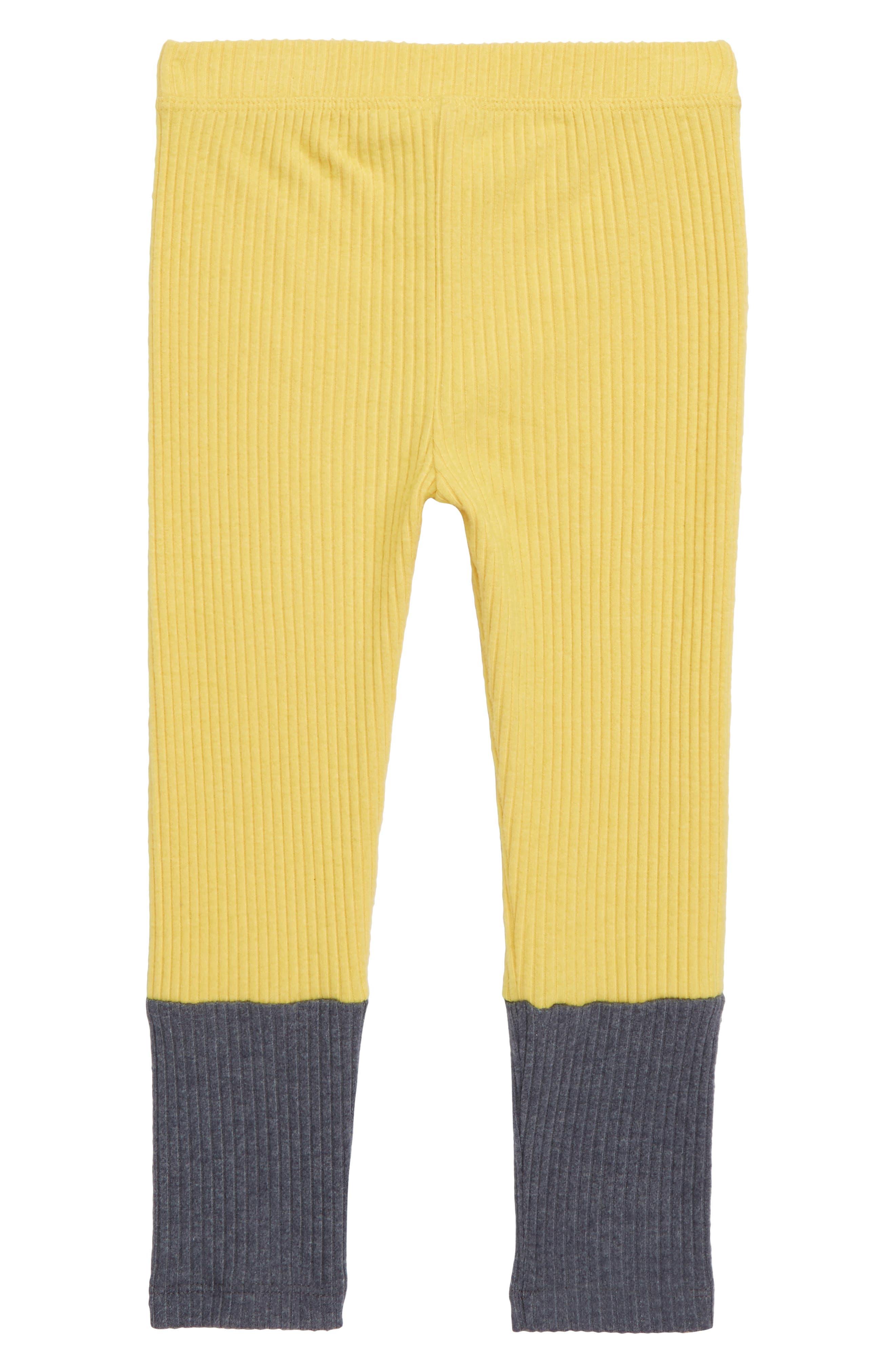 Colorblock Ribbed Leggings,                         Main,                         color, YELLOW BAMBOO- GREY