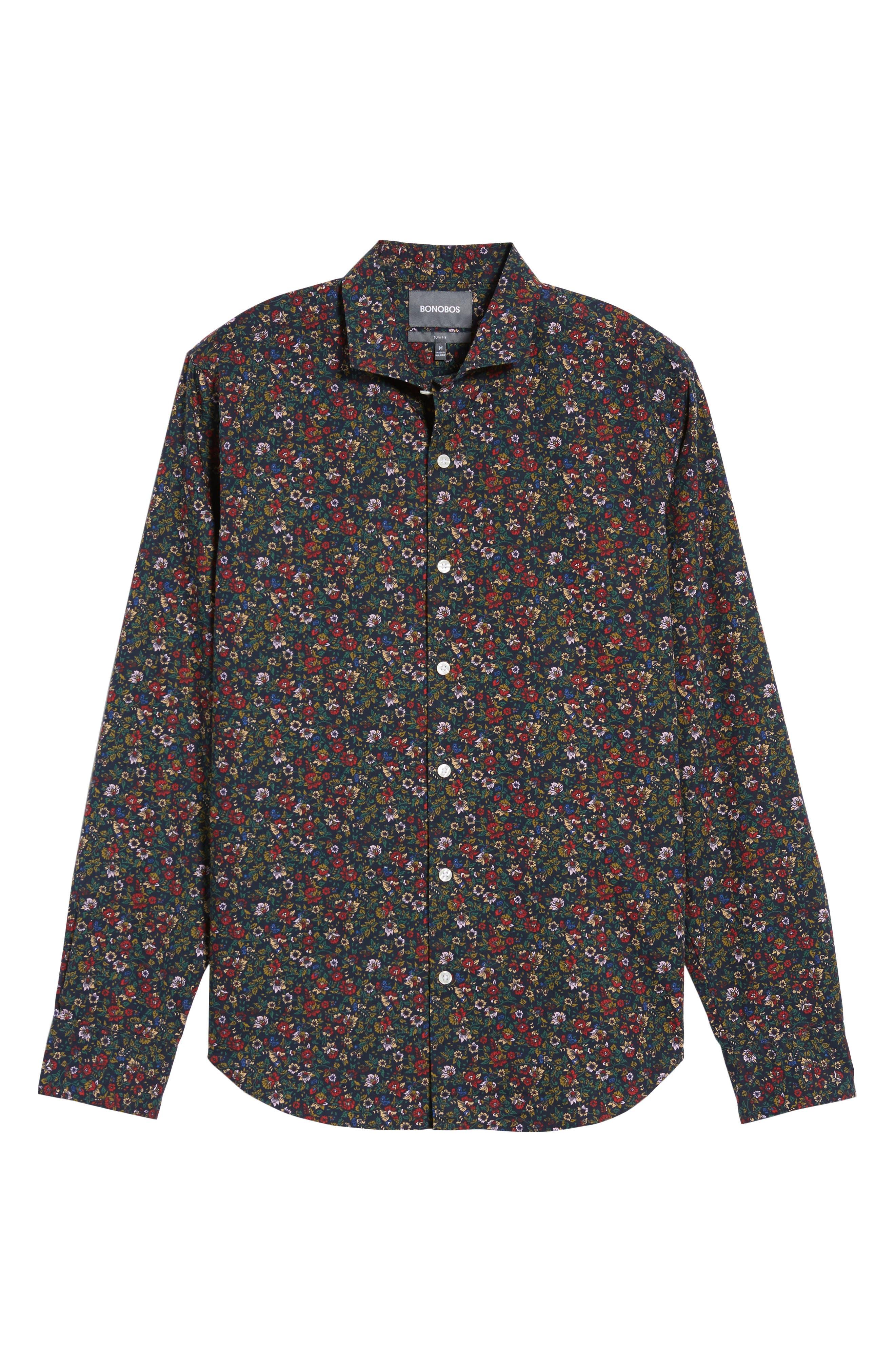Unbutton Down Slim Fit Floral Sport Shirt,                             Alternate thumbnail 6, color,                             001