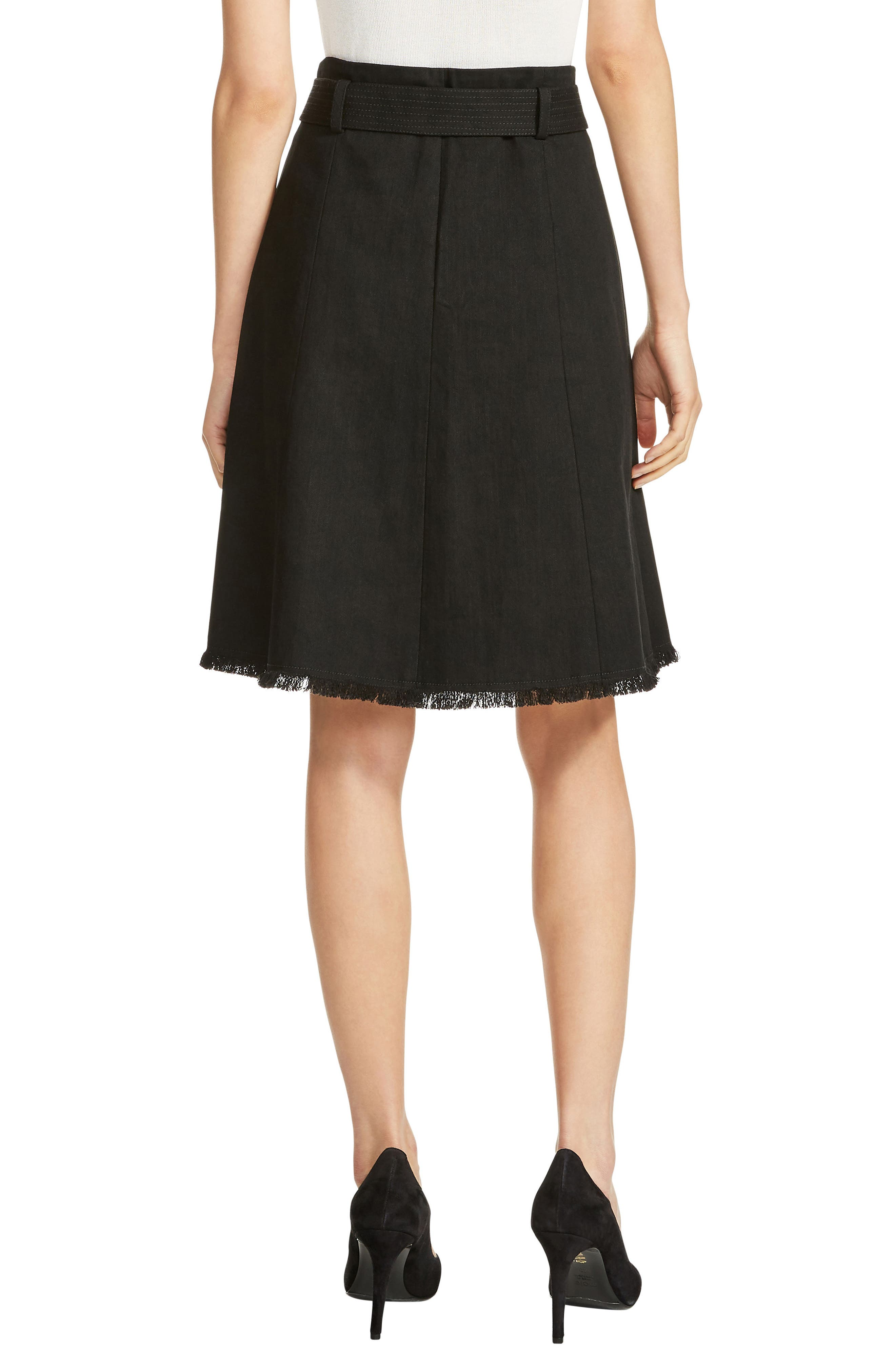Tie Waist Stretch Cotton A-Line Skirt,                             Alternate thumbnail 2, color,                             001