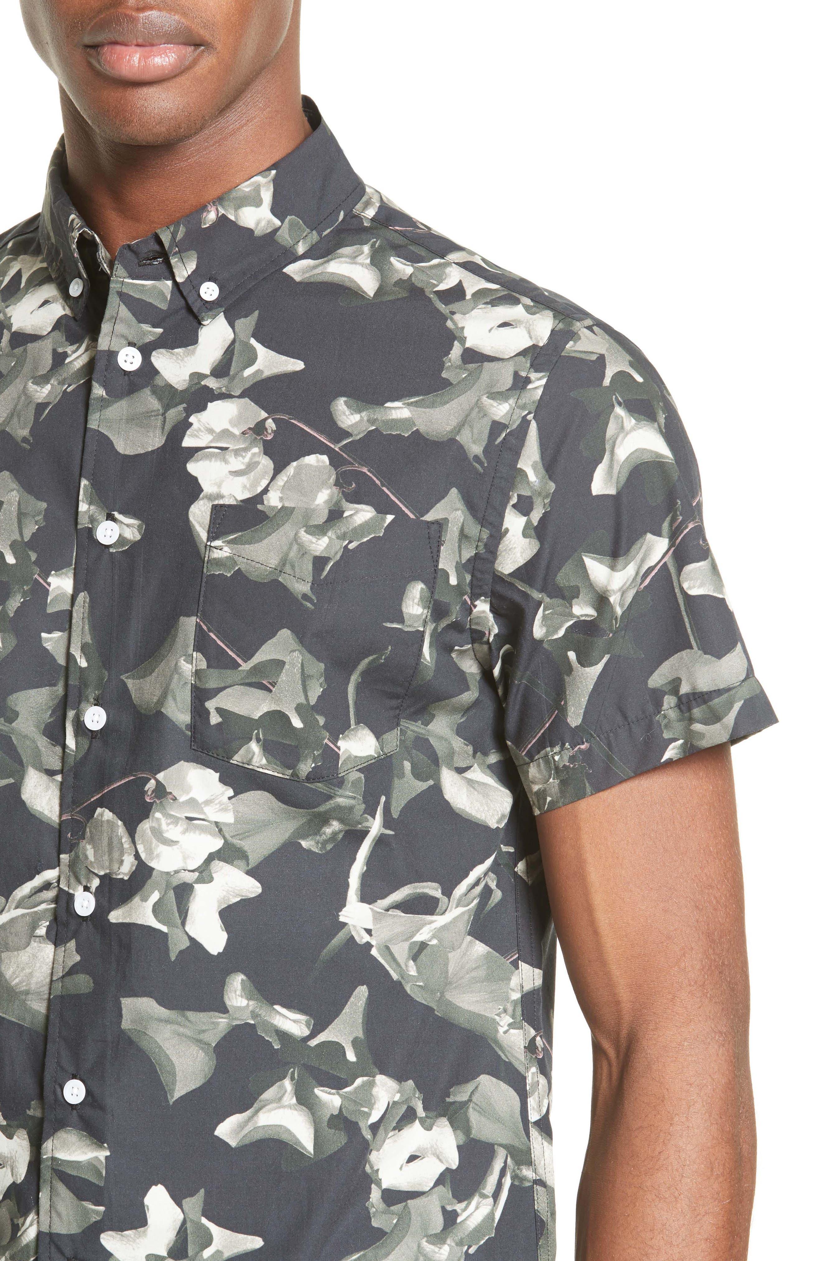 Esquina Petals Print Trim Fit Sport Shirt,                             Alternate thumbnail 4, color,                             020