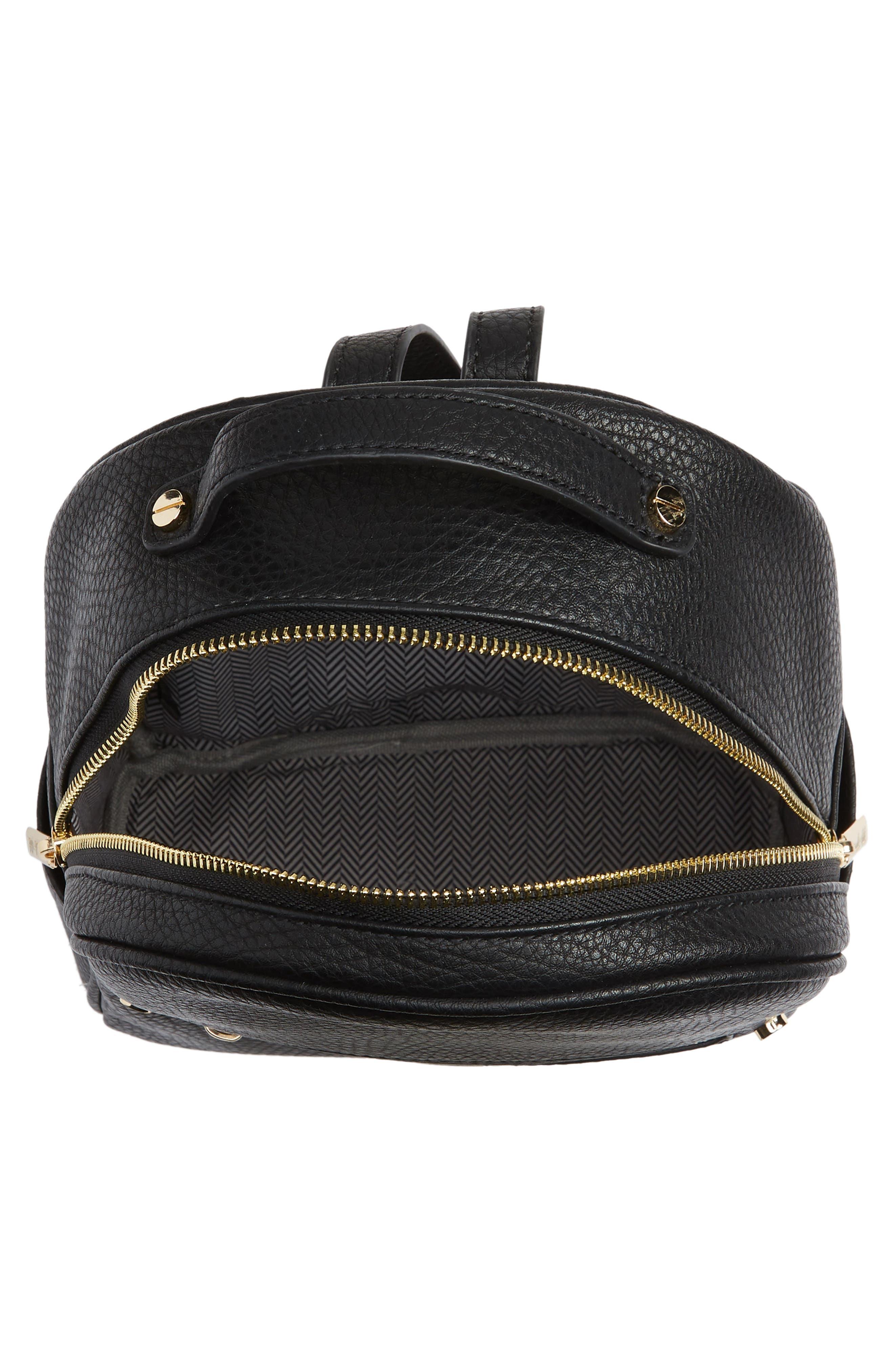 MALI + LILI,                             Hanny Vegan Leather Backpack,                             Alternate thumbnail 4, color,                             BLACK