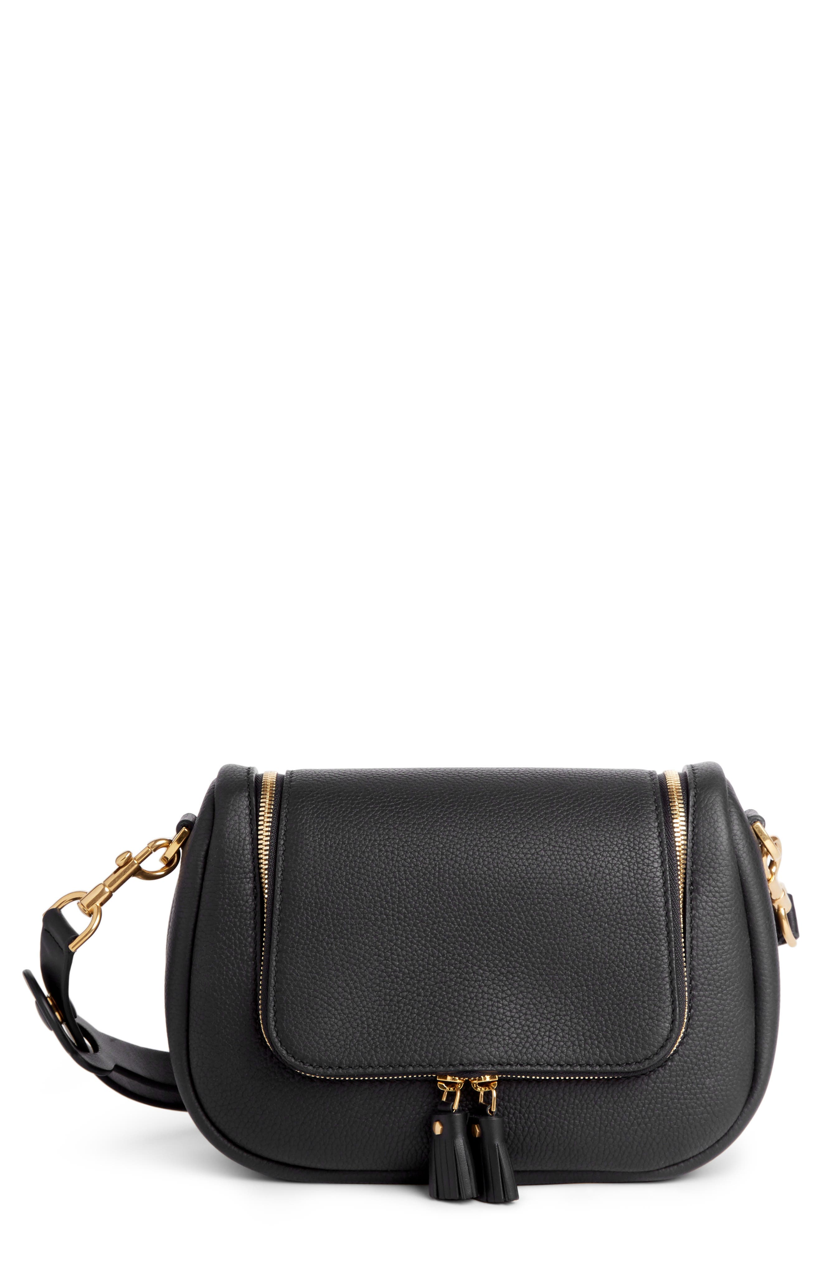 Small Vere Leather Crossbody Satchel, Main, color, BLACK