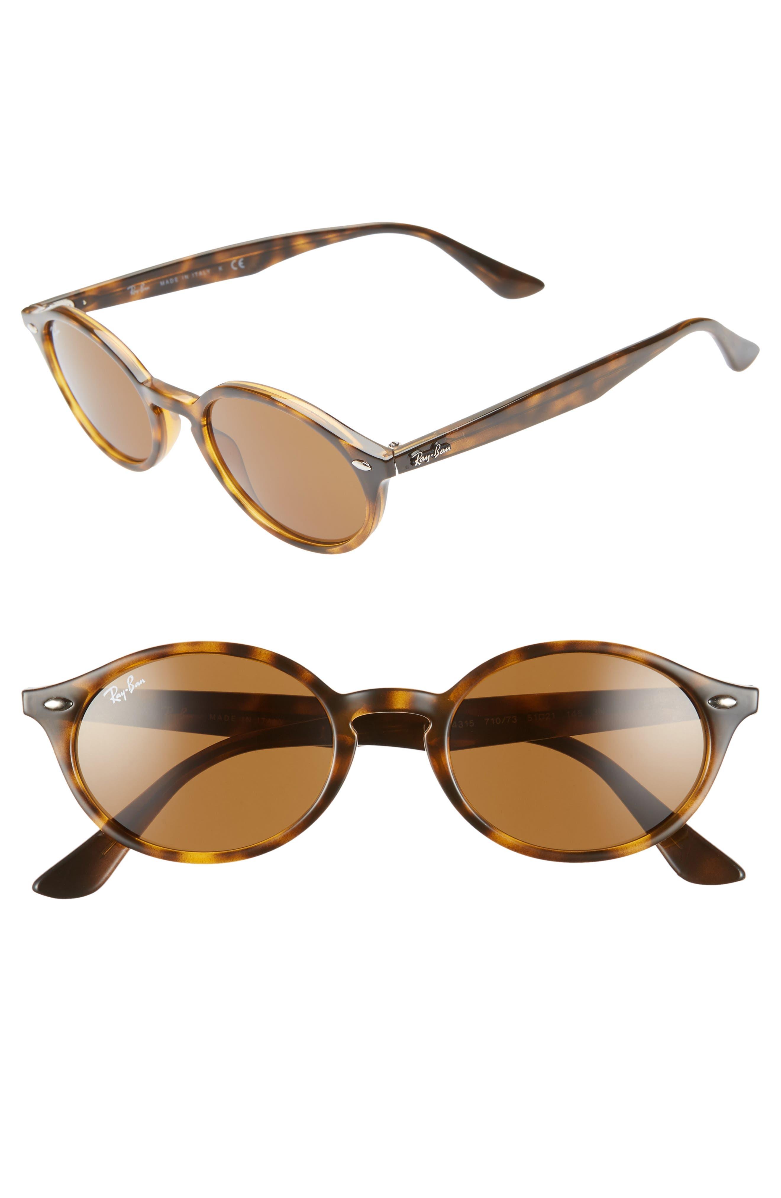Ray-Ban 51Mm Oval Sunglasses - Havana Solid