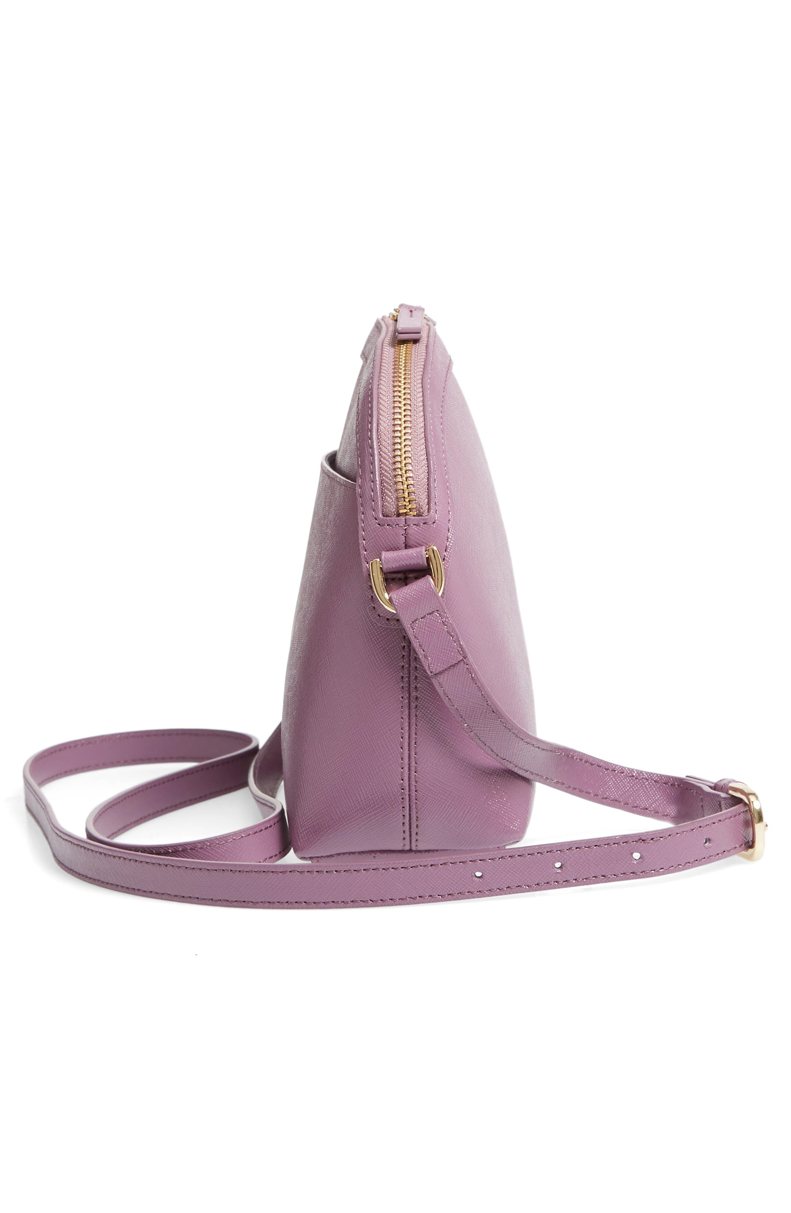 Isobel Half Moon Leather Crossbody Bag,                             Alternate thumbnail 5, color,                             PURPLE BETTA