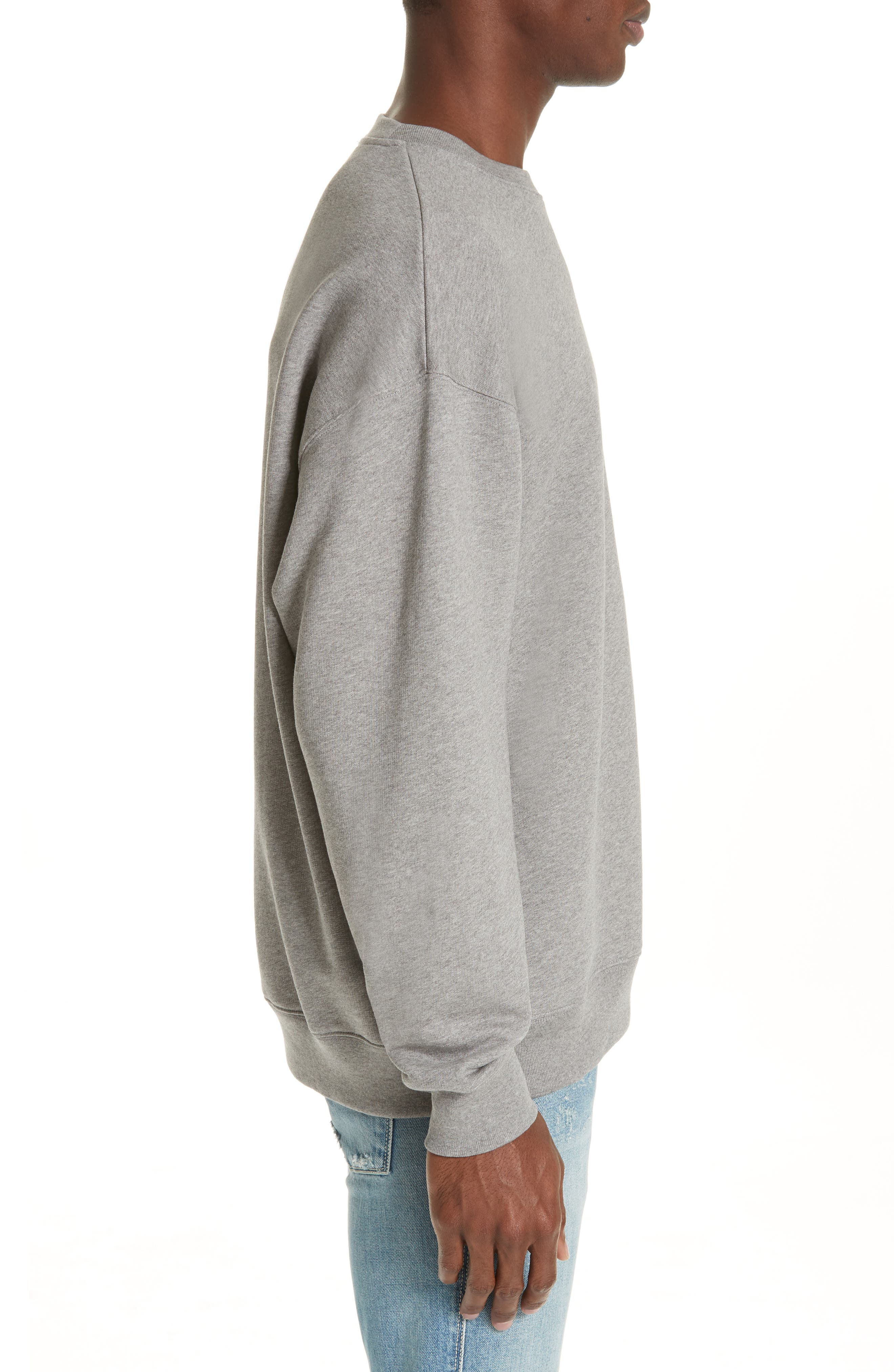 ACNE STUDIOS,                             Forba Face Sweatshirt,                             Alternate thumbnail 3, color,                             LIGHT GREY MELANGE