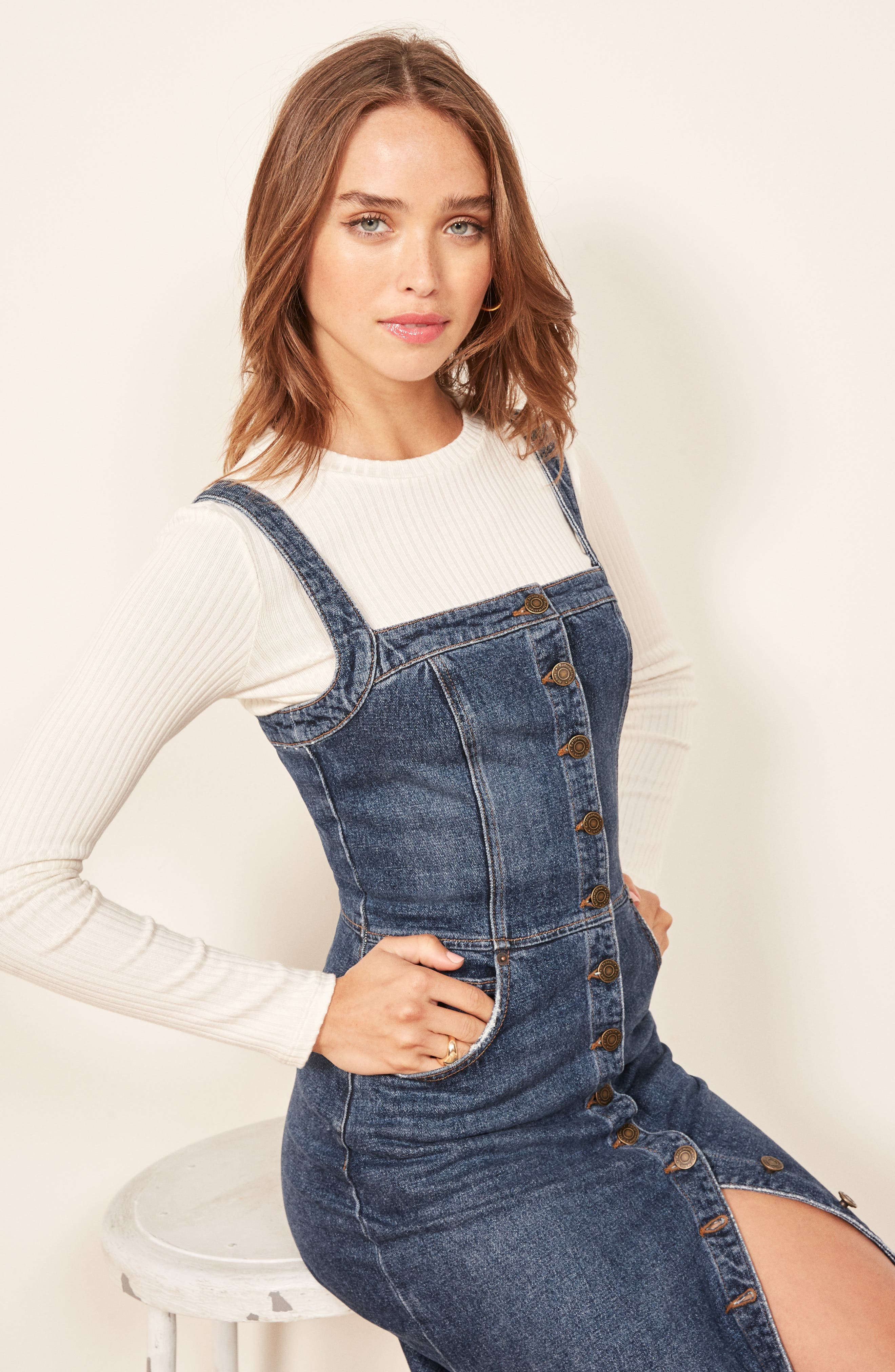 Camille Denim Overall Dress,                             Alternate thumbnail 2, color,                             KASAI