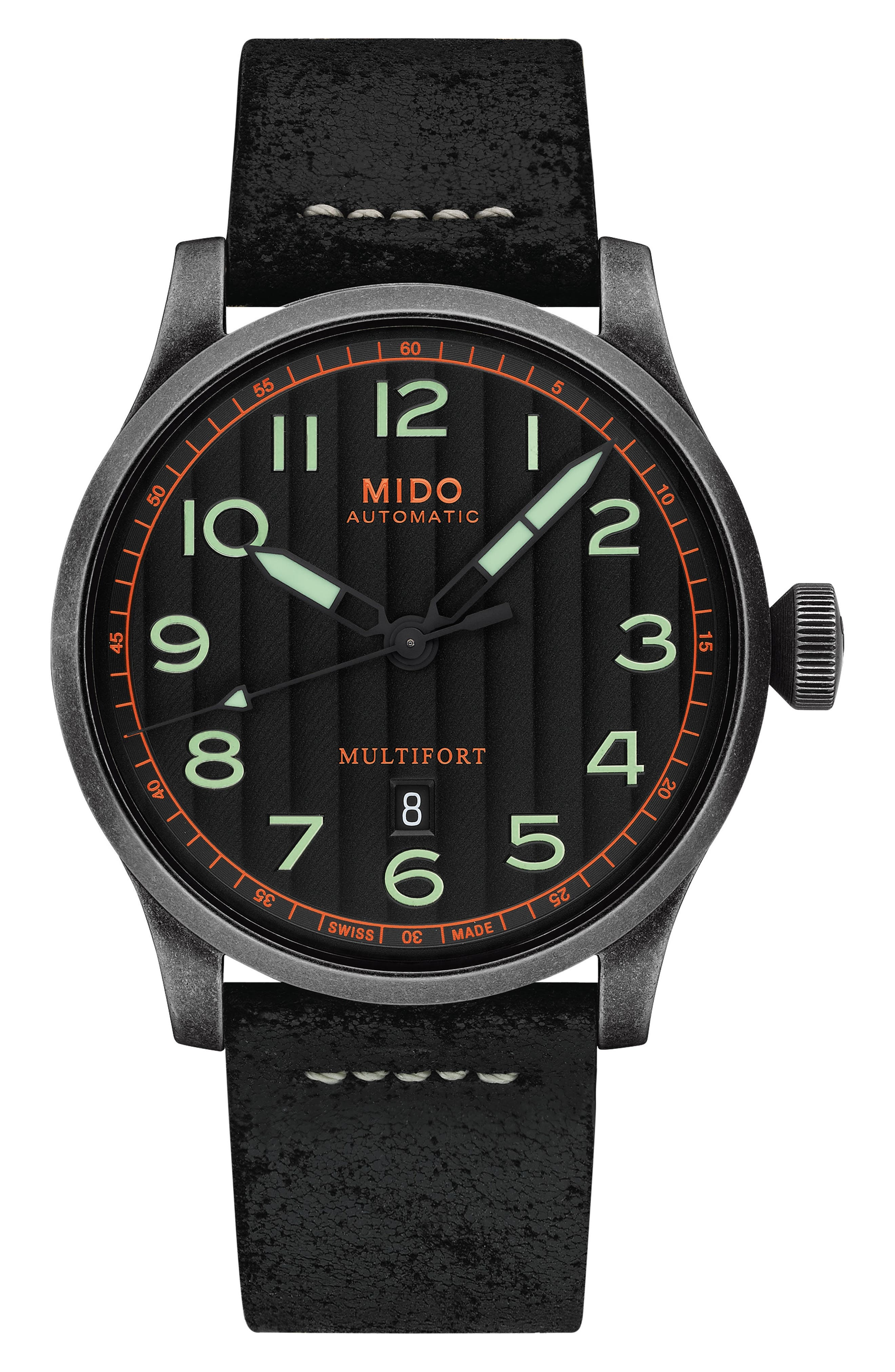 Multifort Escape Leather Strap Watch, 44mm,                         Main,                         color, 001