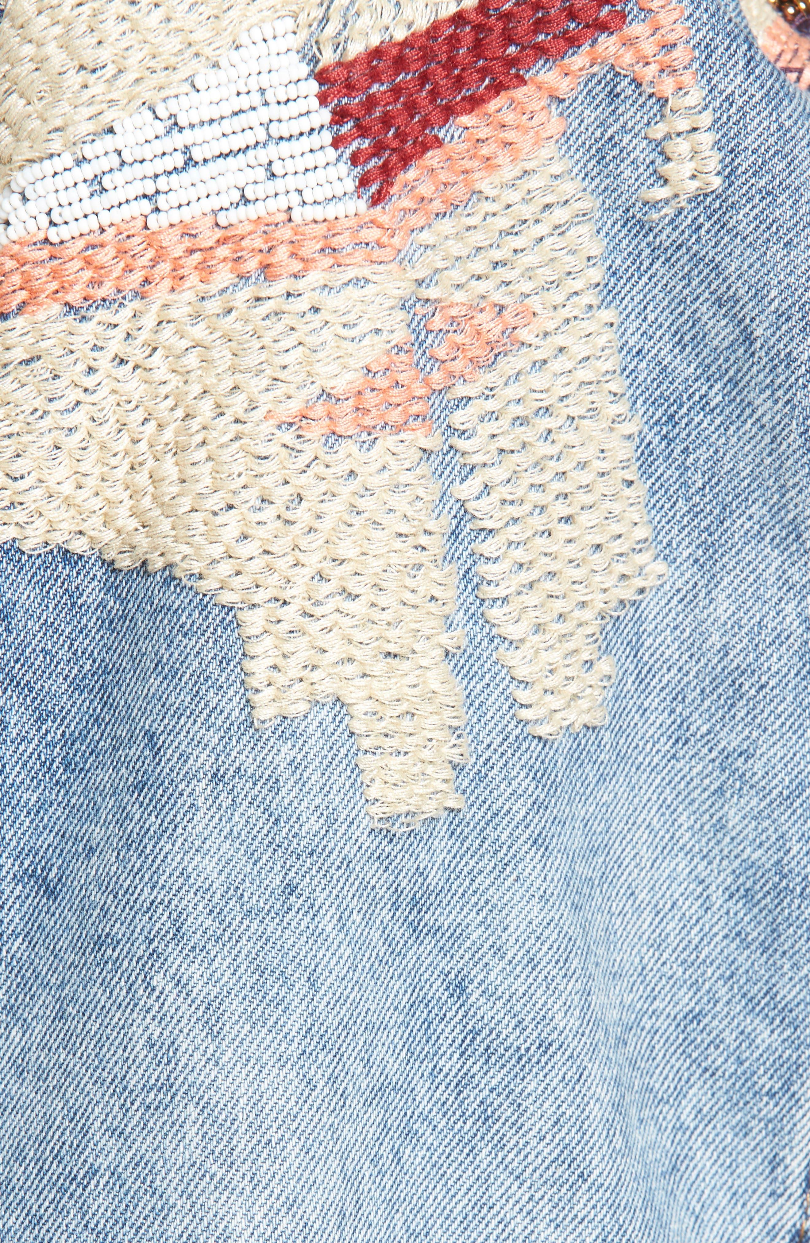 Liquid Summer Beaded Denim Jacket,                             Alternate thumbnail 6, color,
