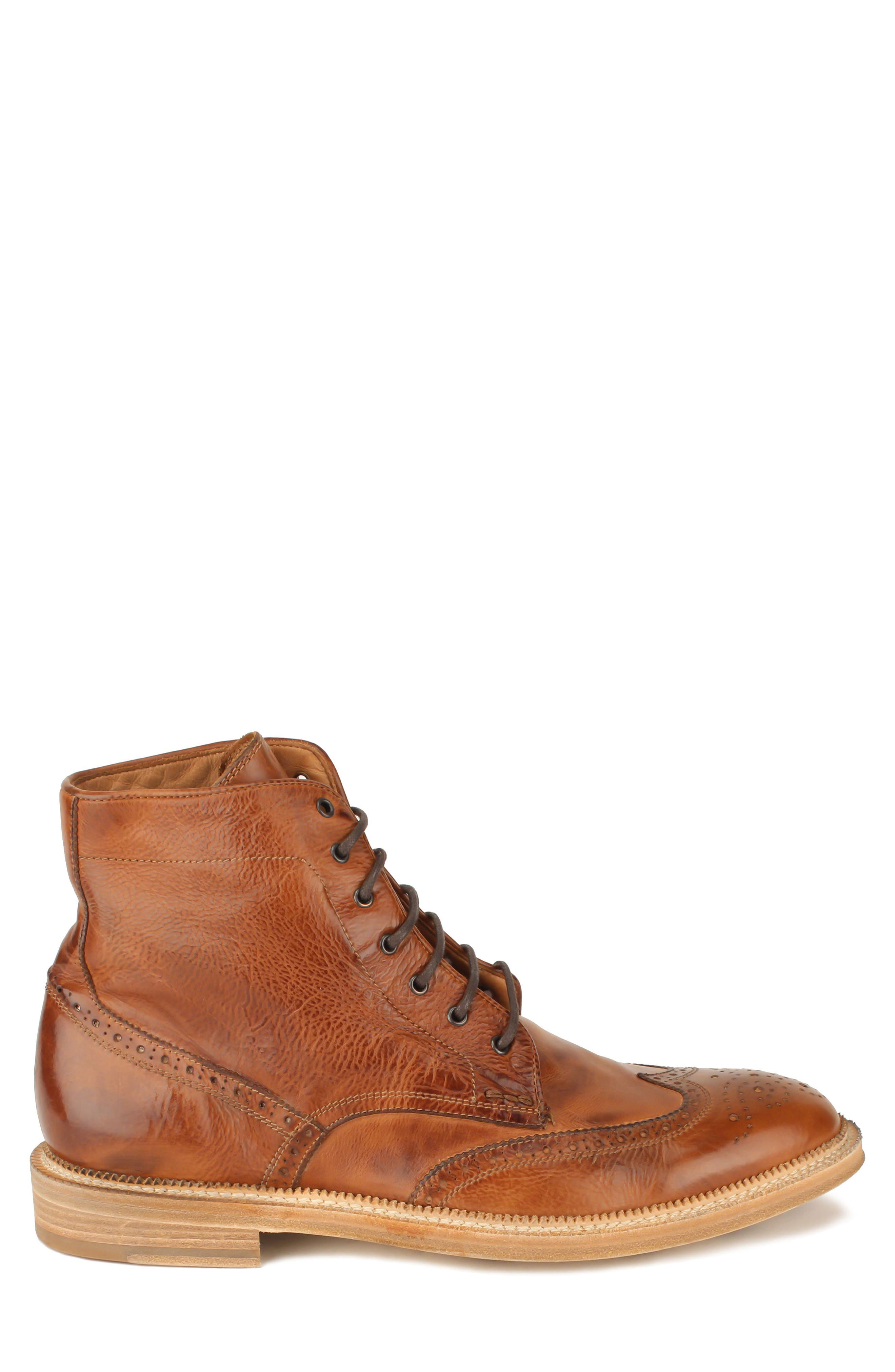 Max Wingtip Boot,                             Alternate thumbnail 3, color,                             WALNUT LEATHER
