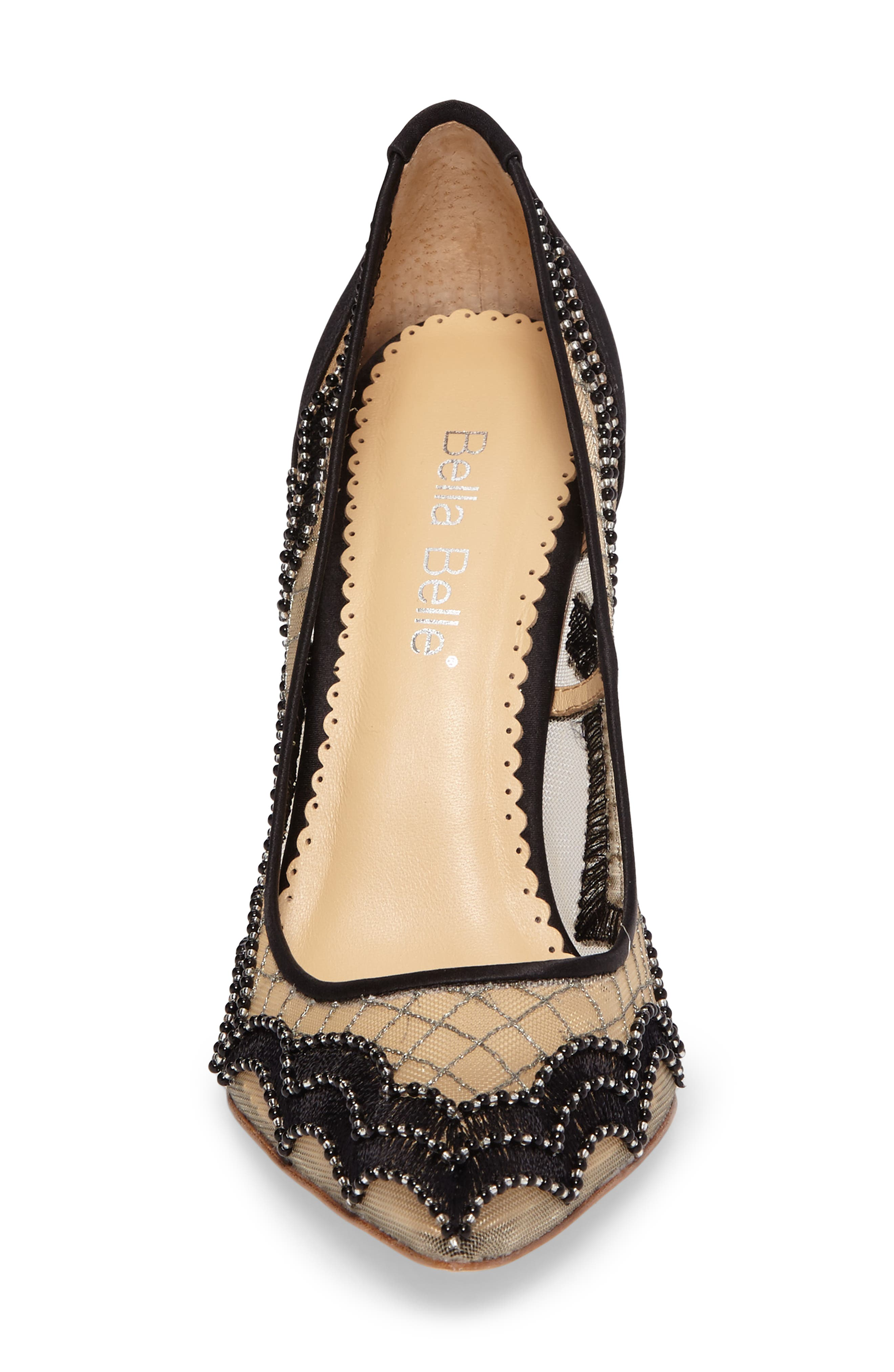 Nadia Scalloped Embroidery Pump,                             Alternate thumbnail 4, color,                             BLACK