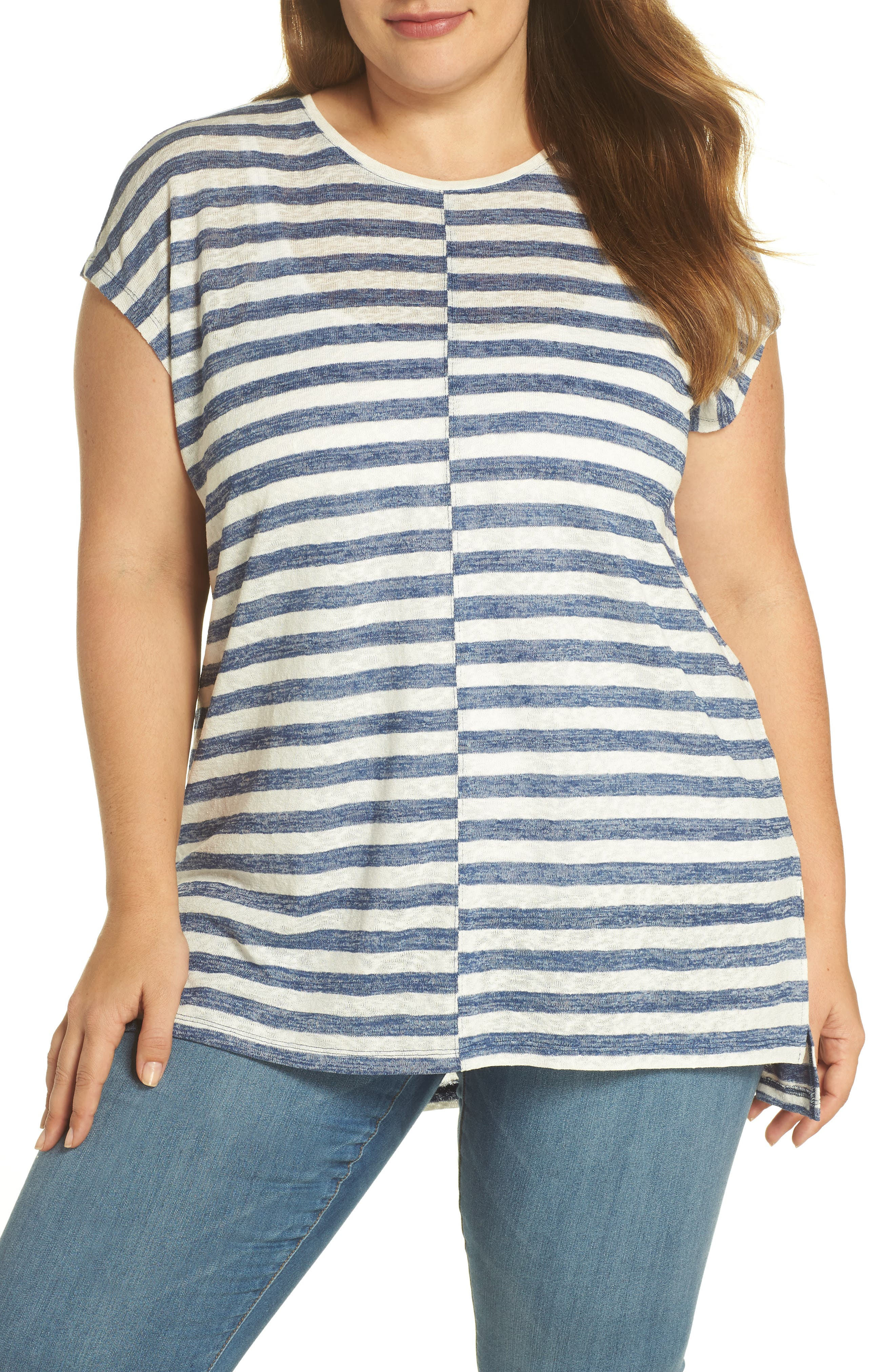 VINCE CAMUTO Offset Stripe Top, Main, color, 491