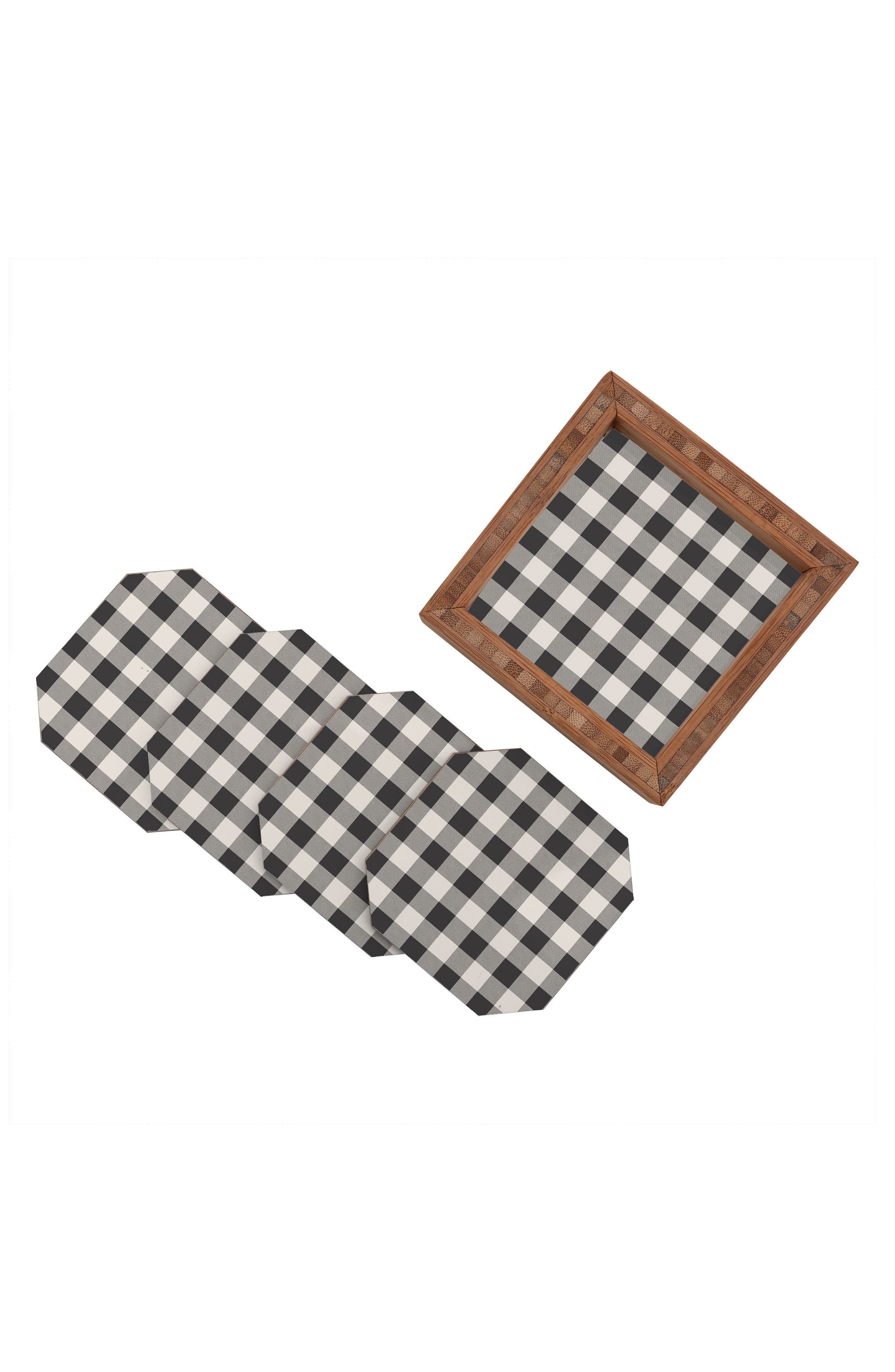 Gingham Set of 4 Coasters,                             Alternate thumbnail 3, color,                             400
