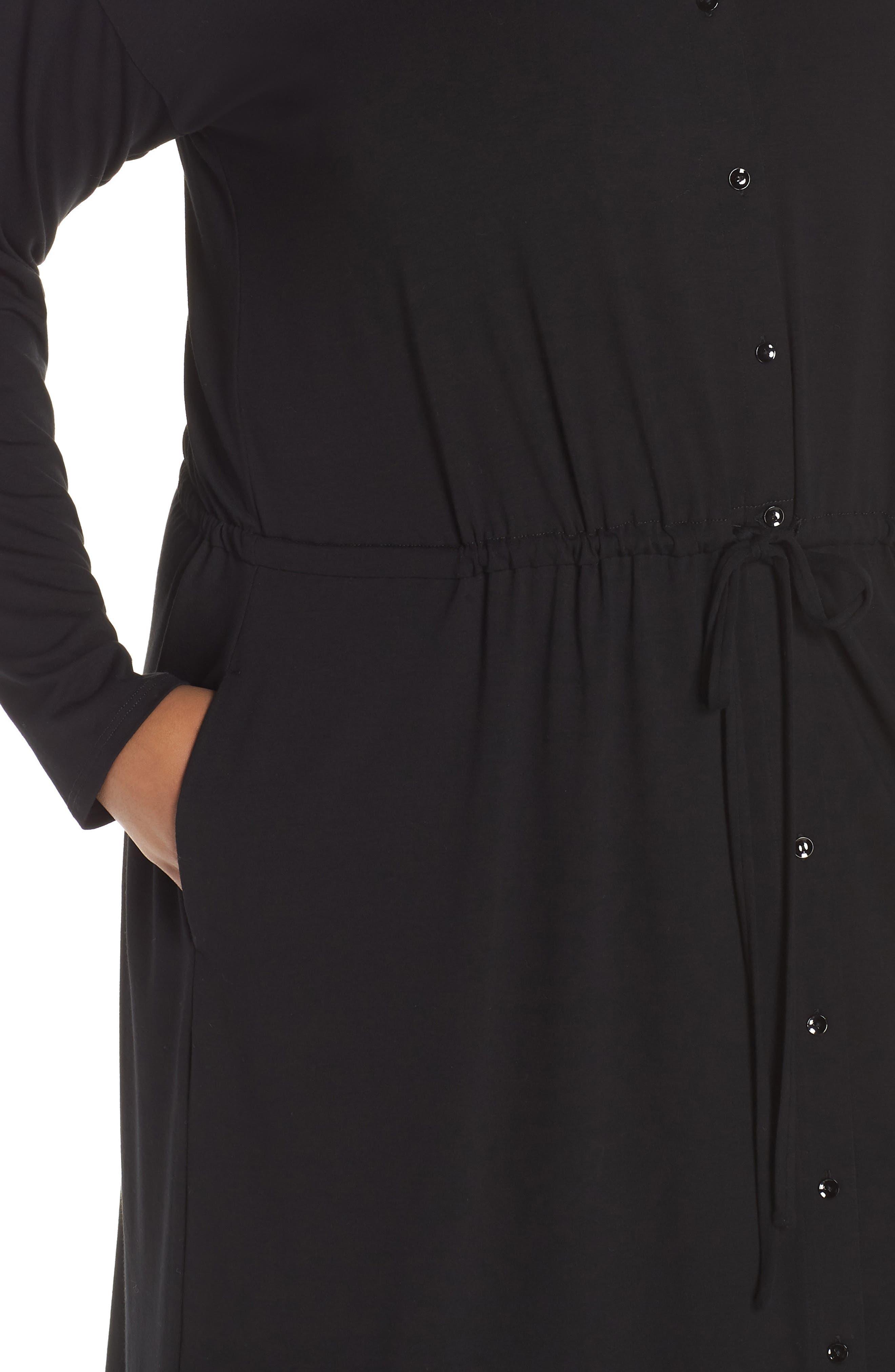 Drawstring Waist Dress,                             Alternate thumbnail 9, color,                             BLACK