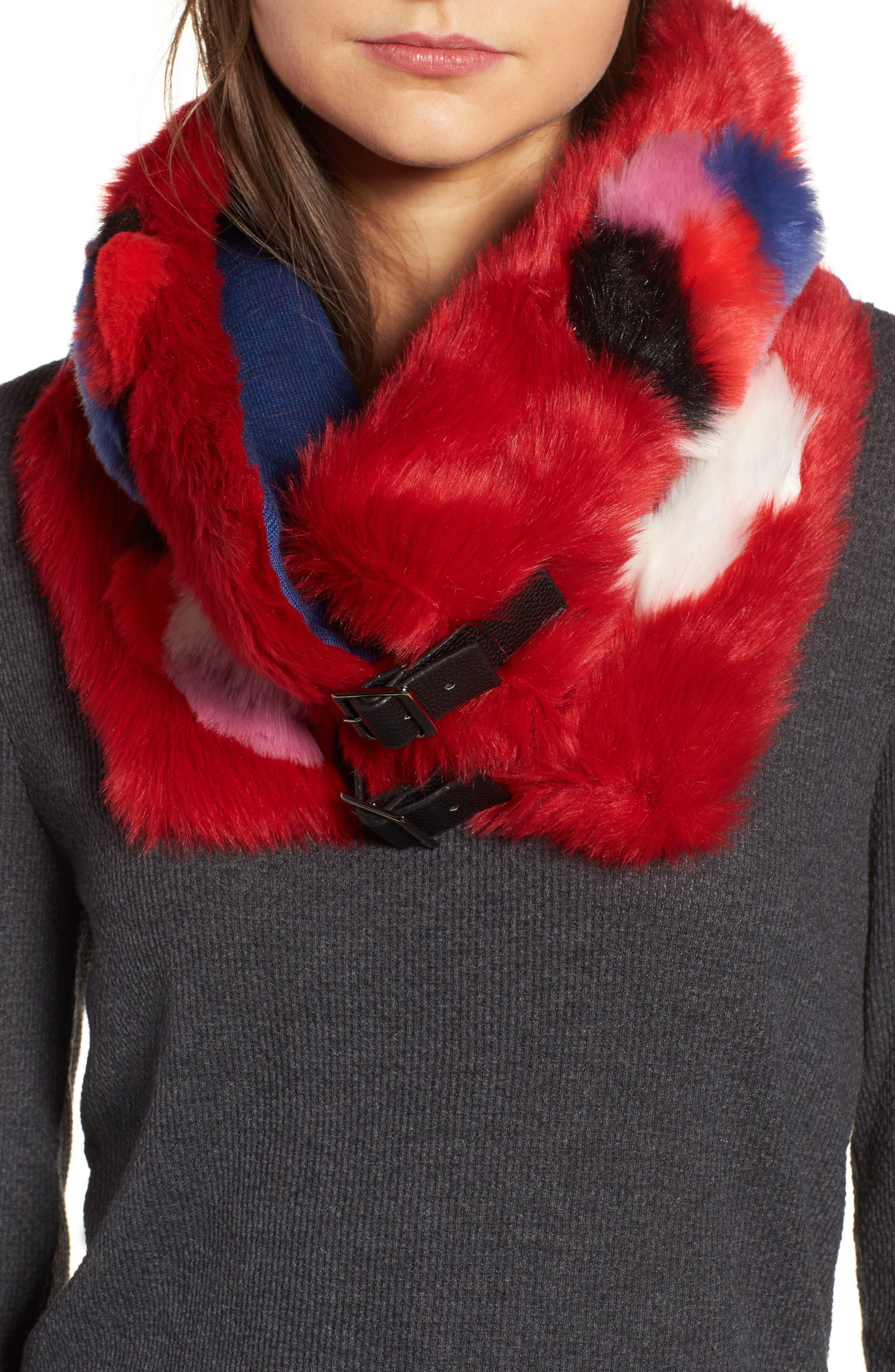 Buckled Faux Fur Cowl Scarf,                             Main thumbnail 3, color,