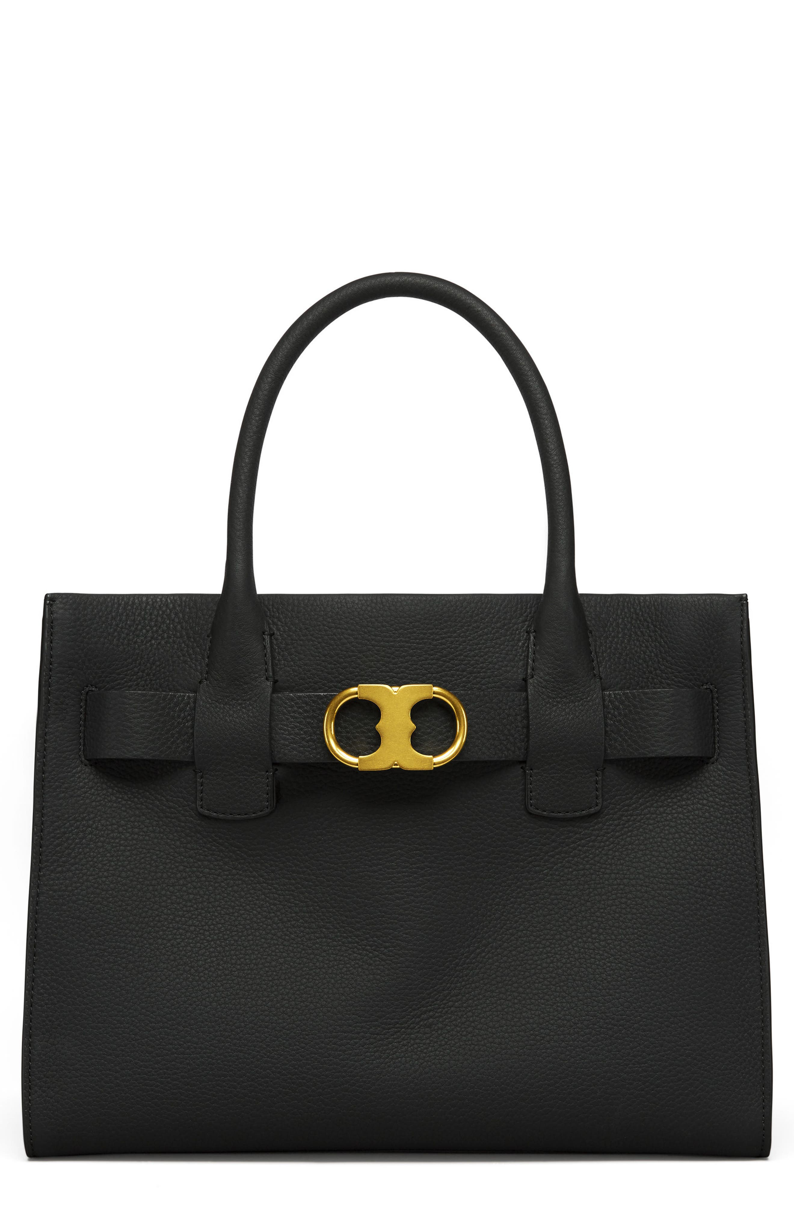 TORY BURCH Gemini Link Leather Tote, Main, color, 001
