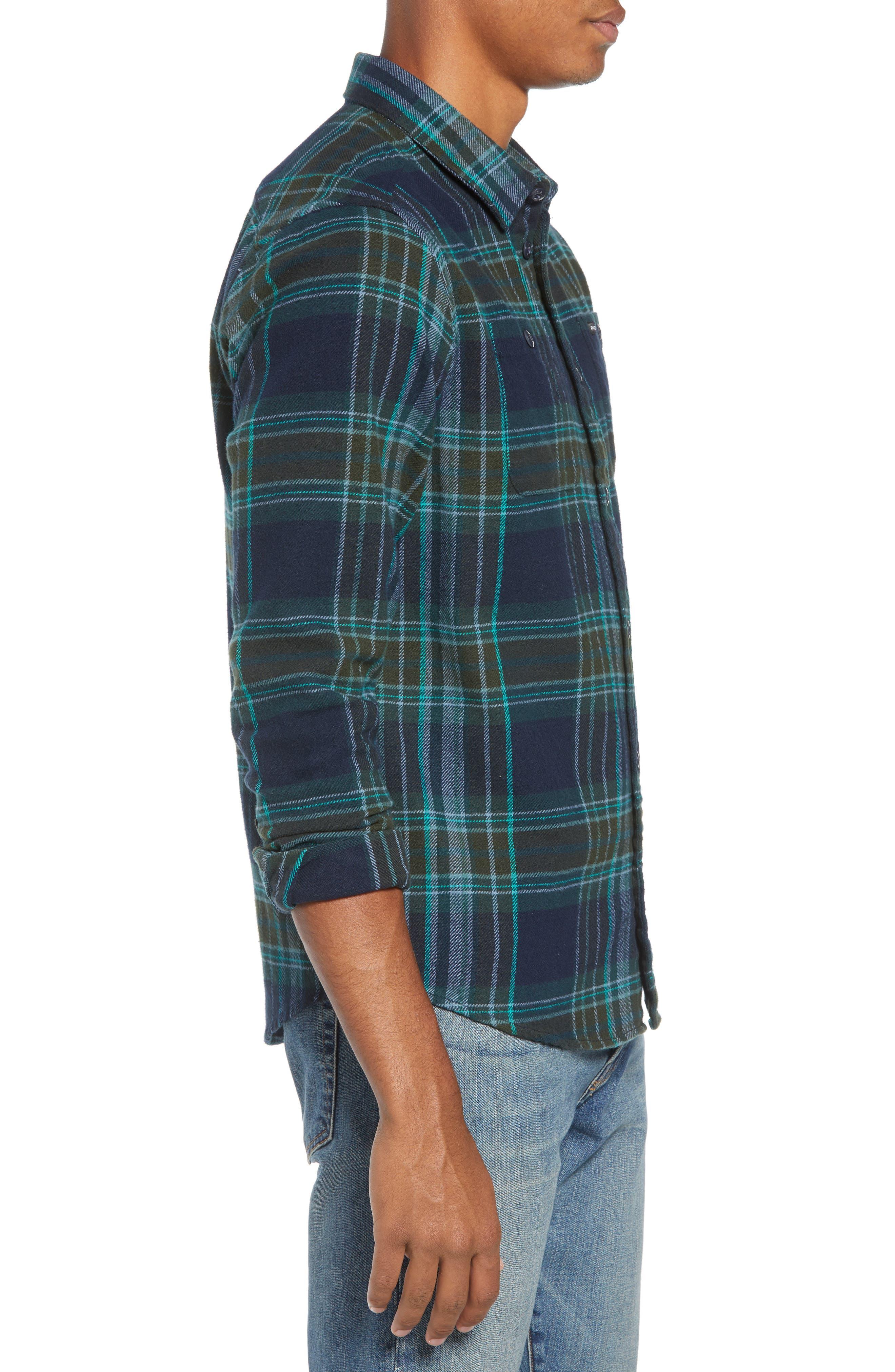 Ludlow Plaid Flannel Shirt,                             Alternate thumbnail 4, color,                             NEW NAVY