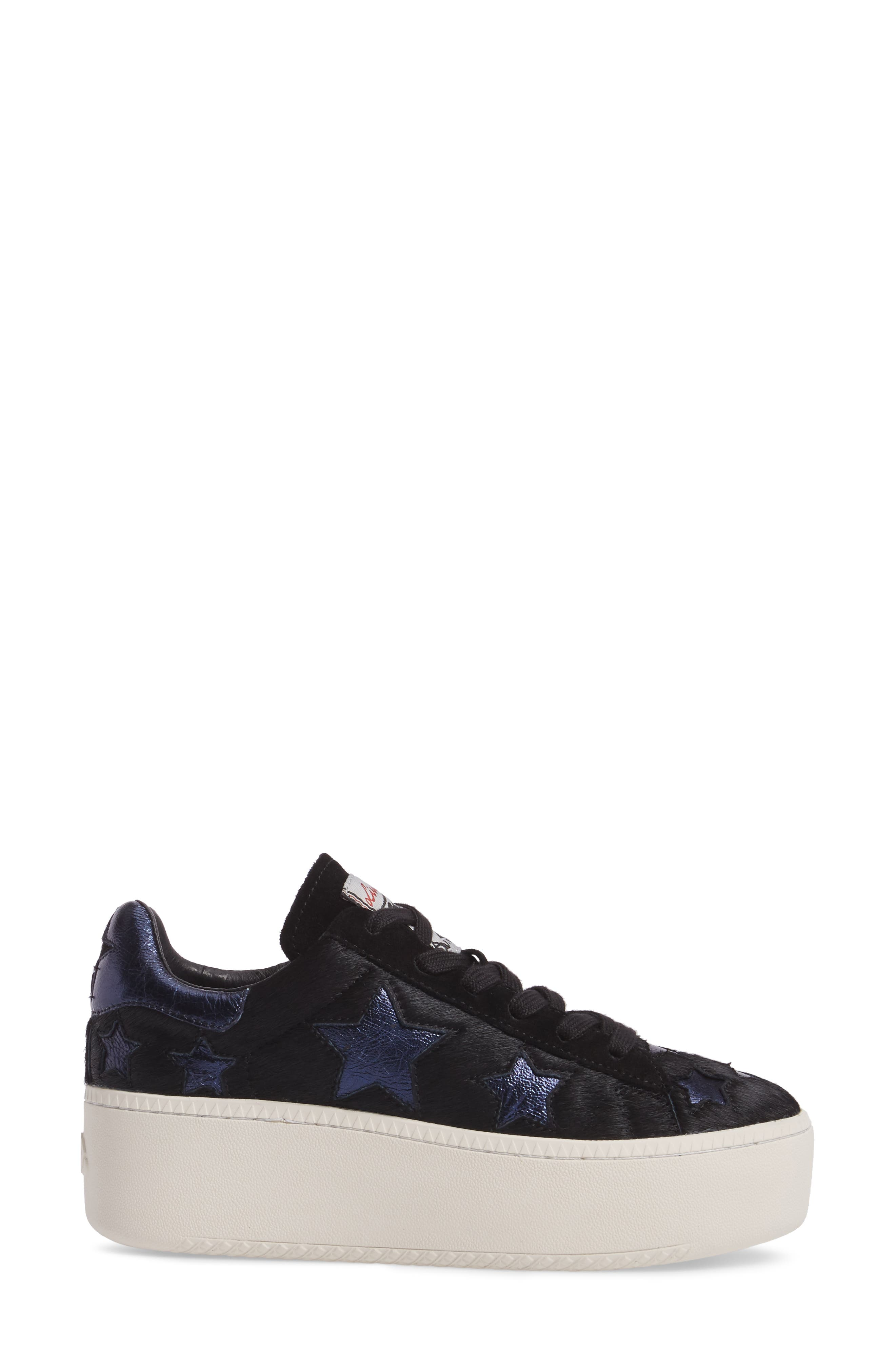 Cult Star Calf Hair Sneaker,                             Alternate thumbnail 3, color,                             001