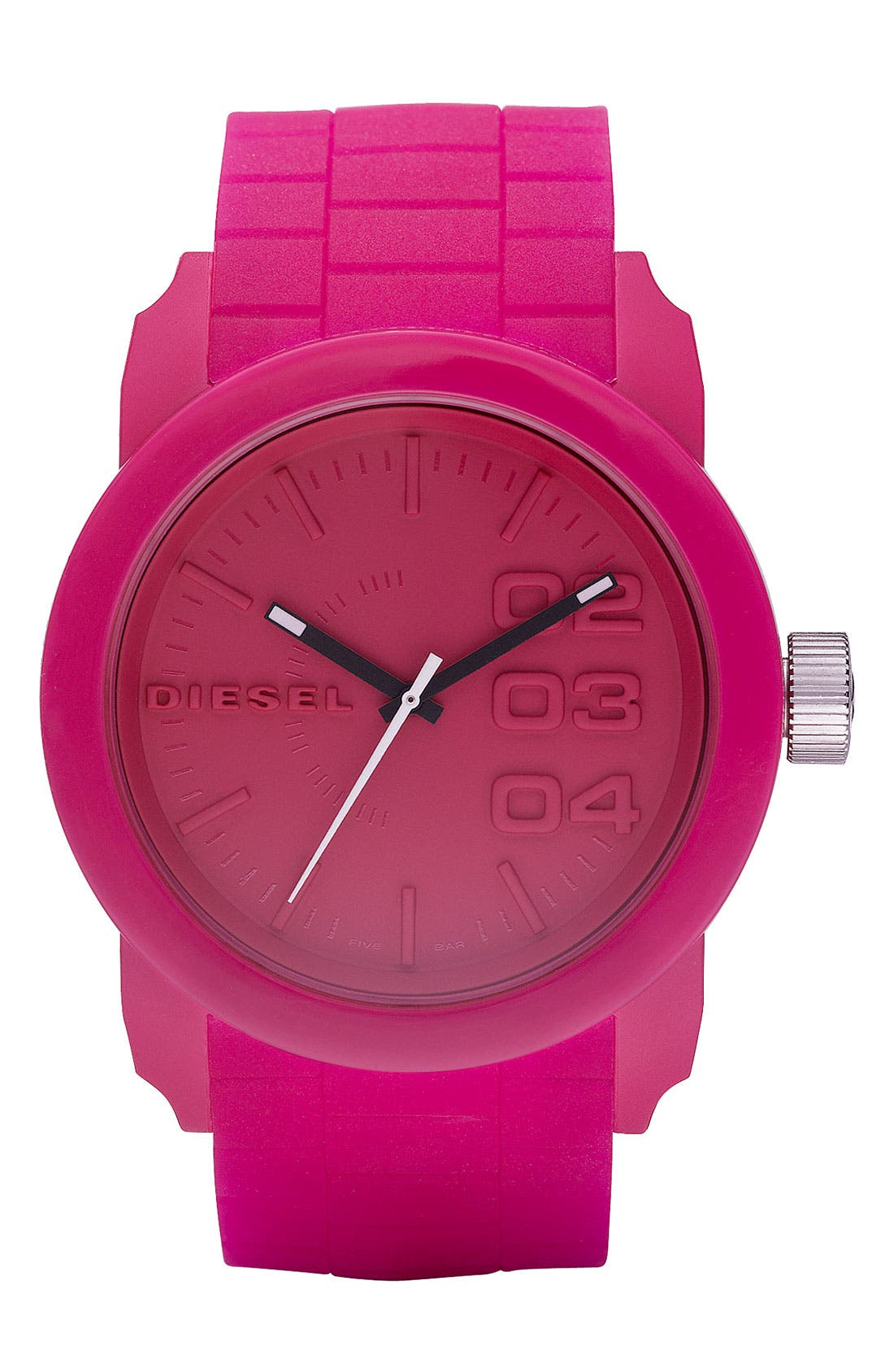 'Double Down' Round Silicone Strap Watch, 44mm,                             Main thumbnail 6, color,