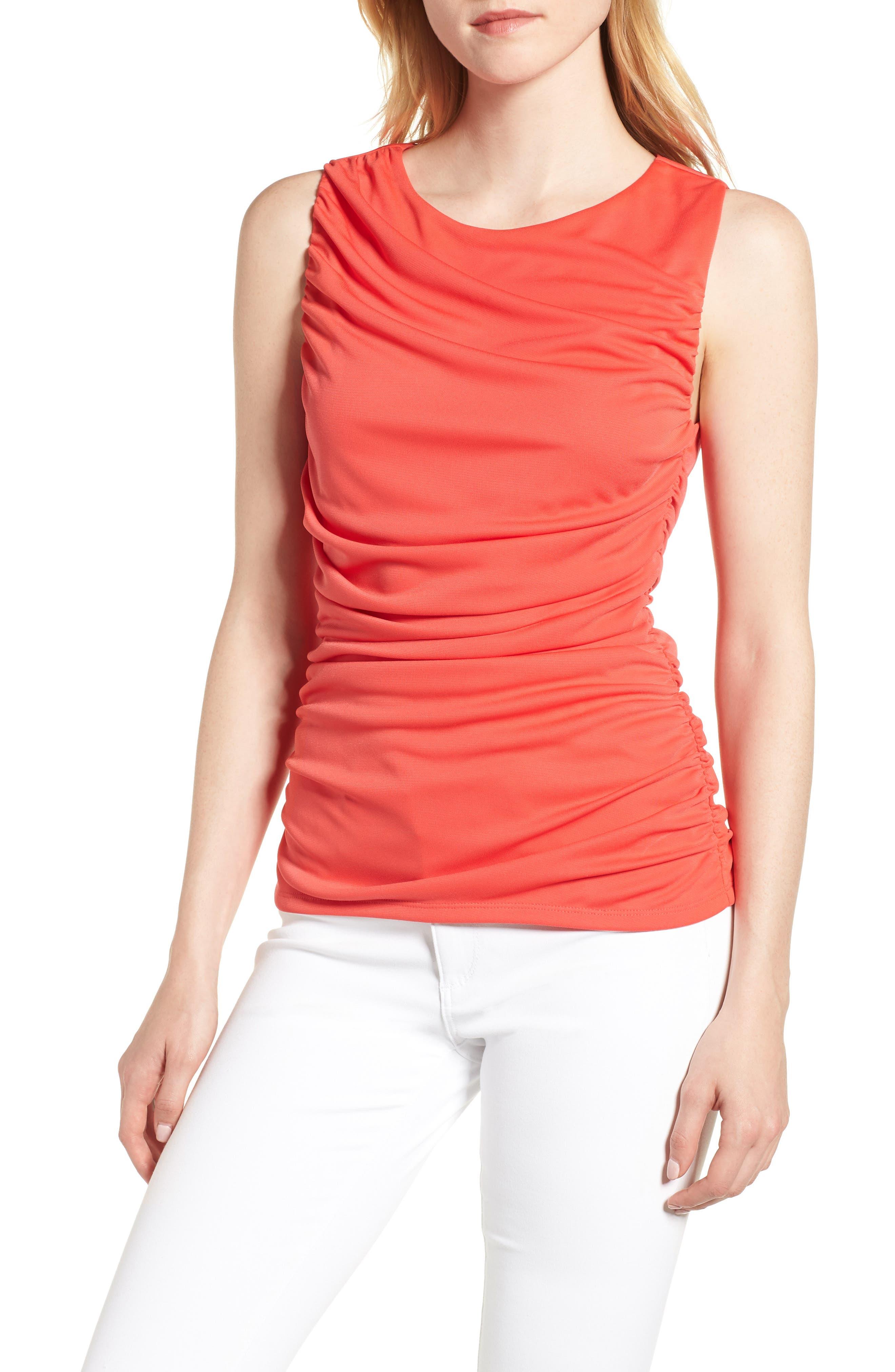 Shirred Sleeveless Top,                         Main,                         color, 610