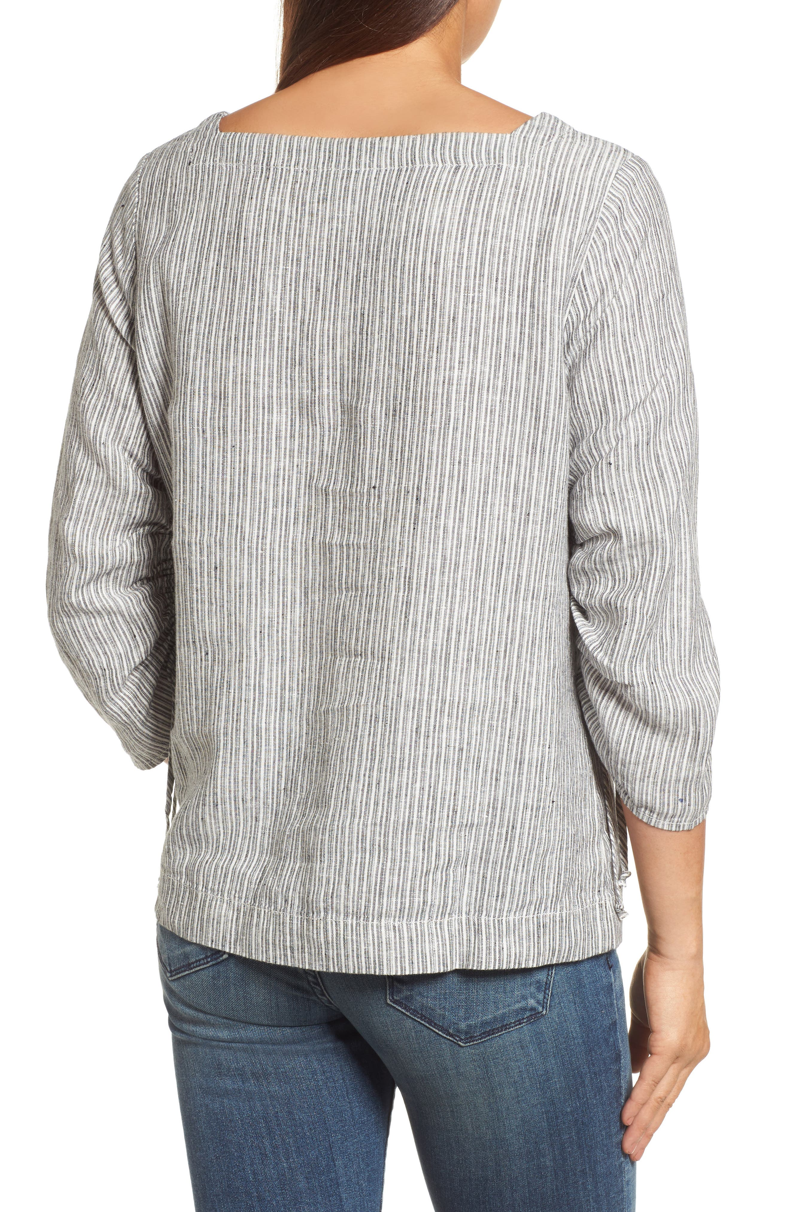 Ruched Sleeve Linen Pullover,                             Alternate thumbnail 6, color,